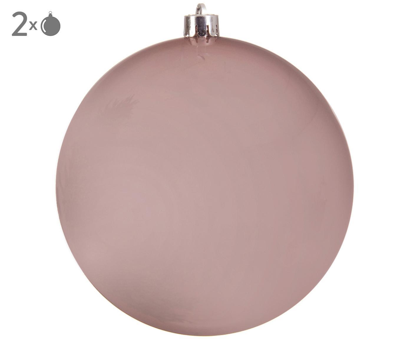 Kerstballen Minstix, 2 stuks, Kunststof, Roze, Ø 14 cm