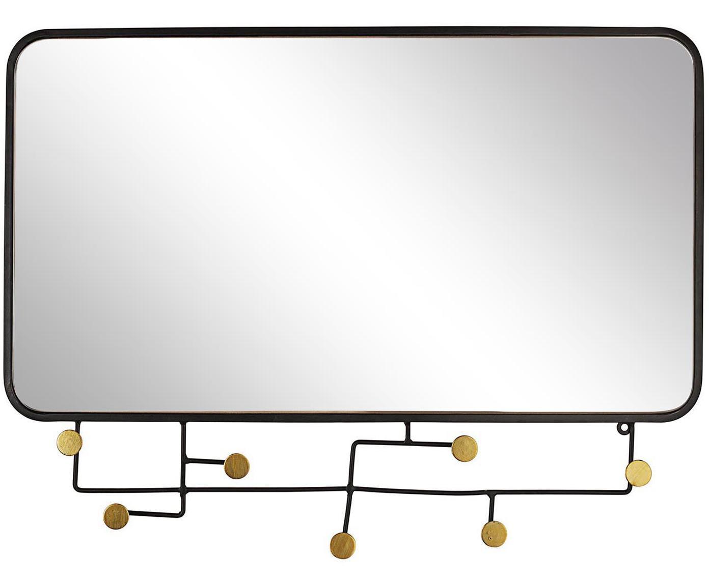 Espejo de pared Korbit, Negro, dorado, An 63 x Al 82 cm