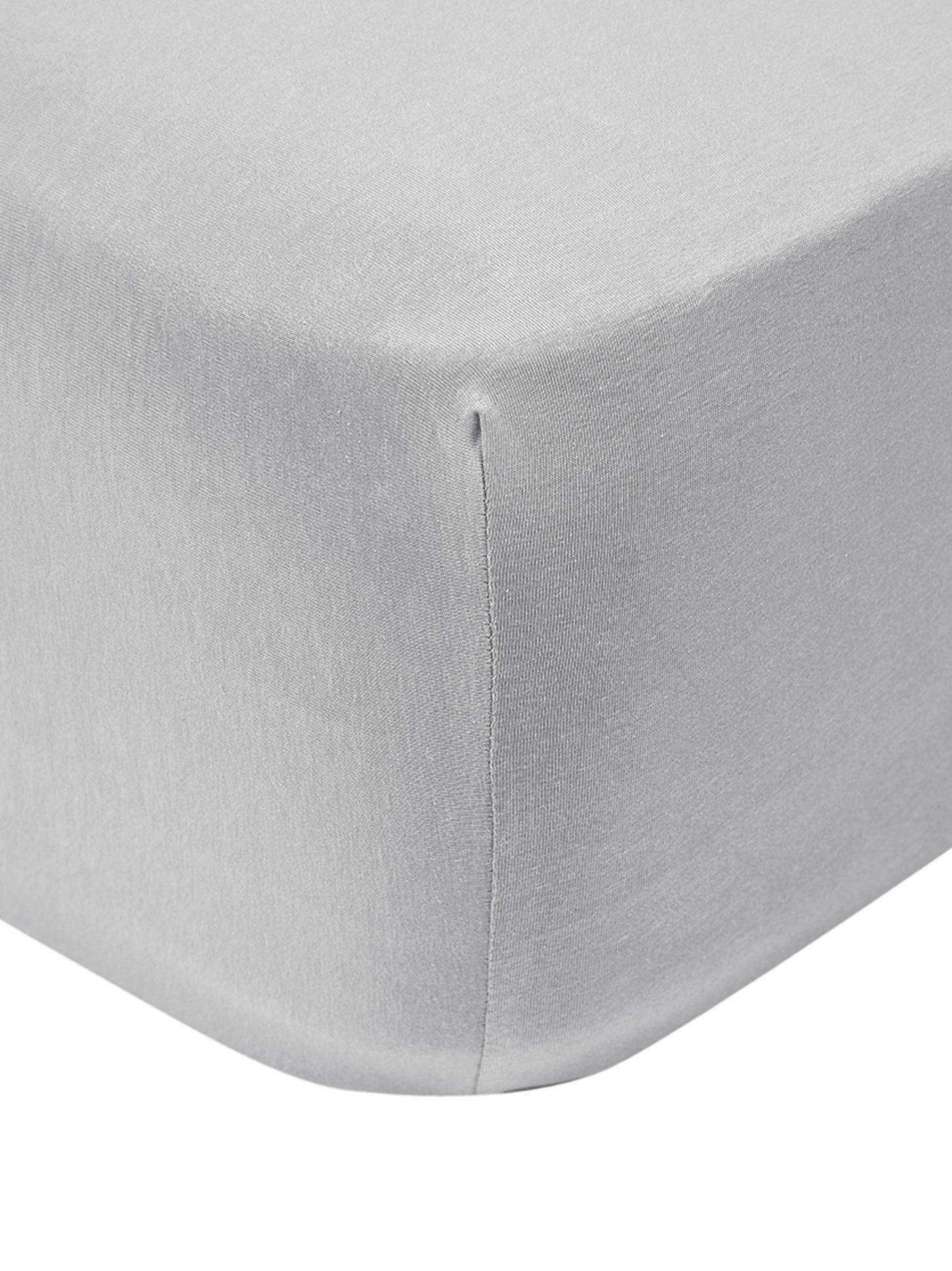 Sábana bajera para cubrecolchón de jersey con elastano Lara, 95%algodón, 5%elastano, Gris claro, Cama 150 cm (160 x 200 cm)