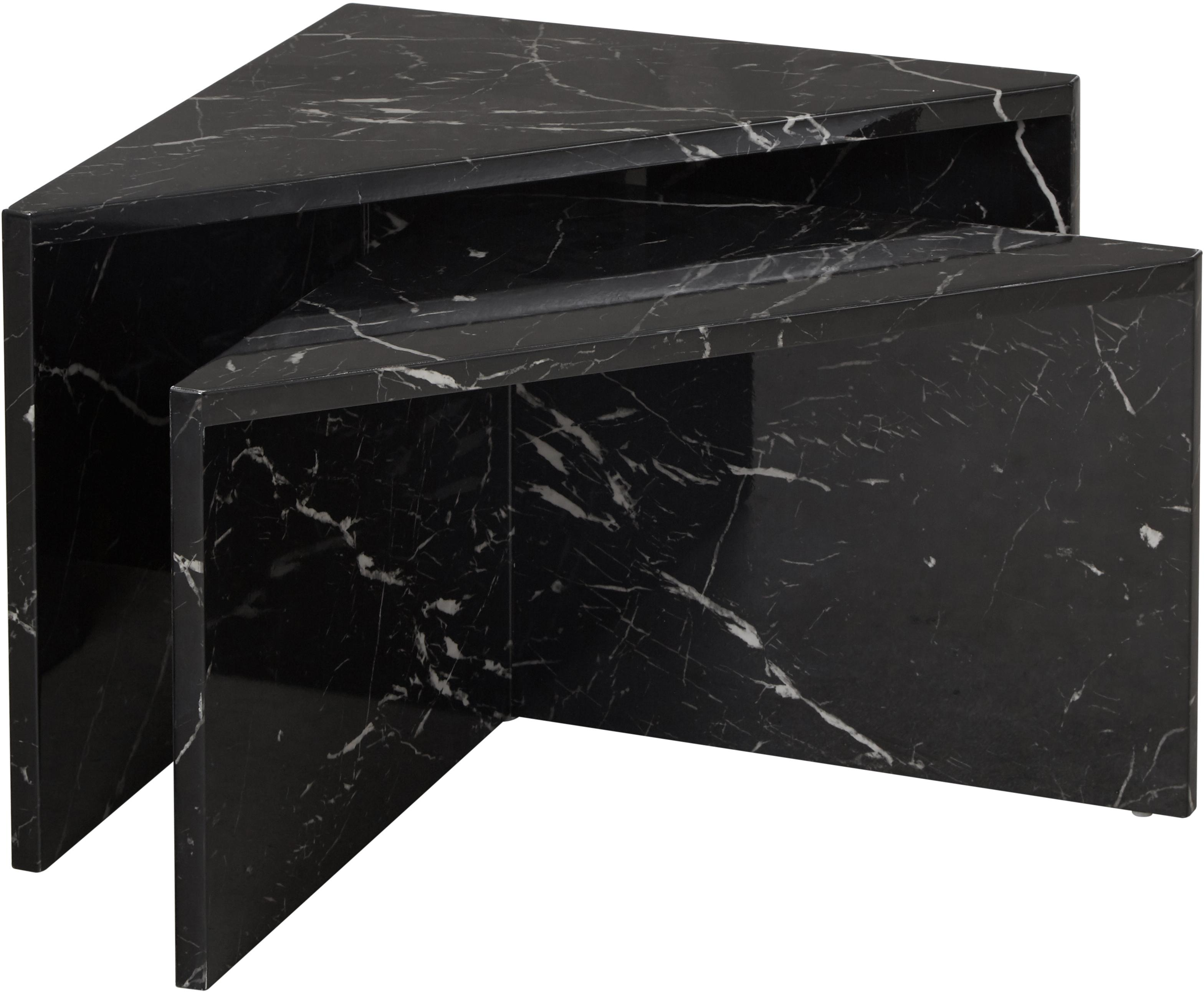 Salontafelset Vilma in marmerlook, 2-delig, MDF bedekt met gelakt papier in marmerlook, Zwart, gemarmerd, glanzend, Verschillende formaten