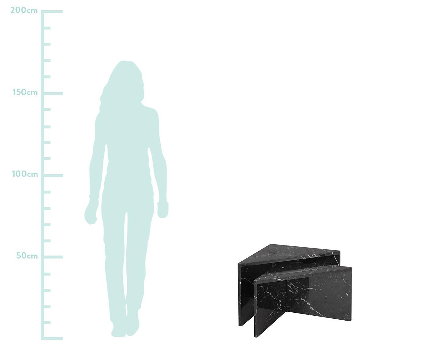 Sada konferenčních stolků smramorováním Vilma, 2 díly, Mramorovaná lesklá černá