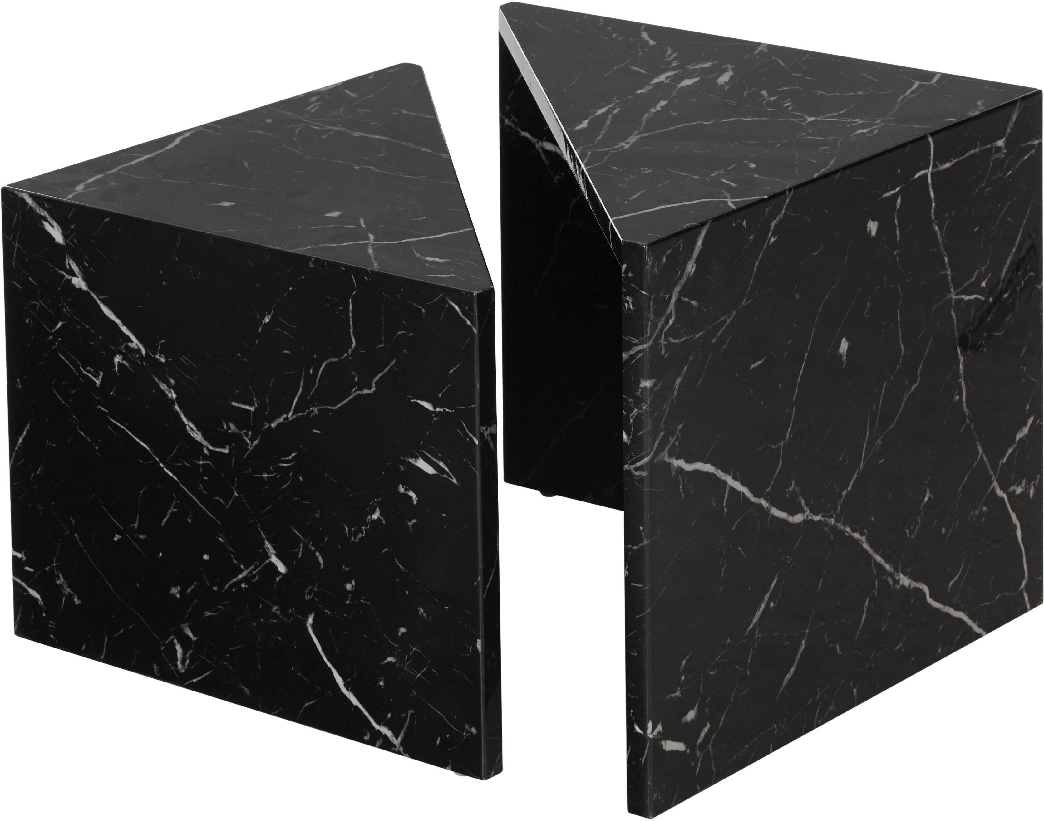 Couchtisch 2er-Set Vilma in Marmor-Optik, Mitteldichte Holzfaserplatte (MDF), mit lackbeschichtetem Papier in Marmoroptik überzogen, Schwarz, marmoriert, glänzend, Sondergrößen