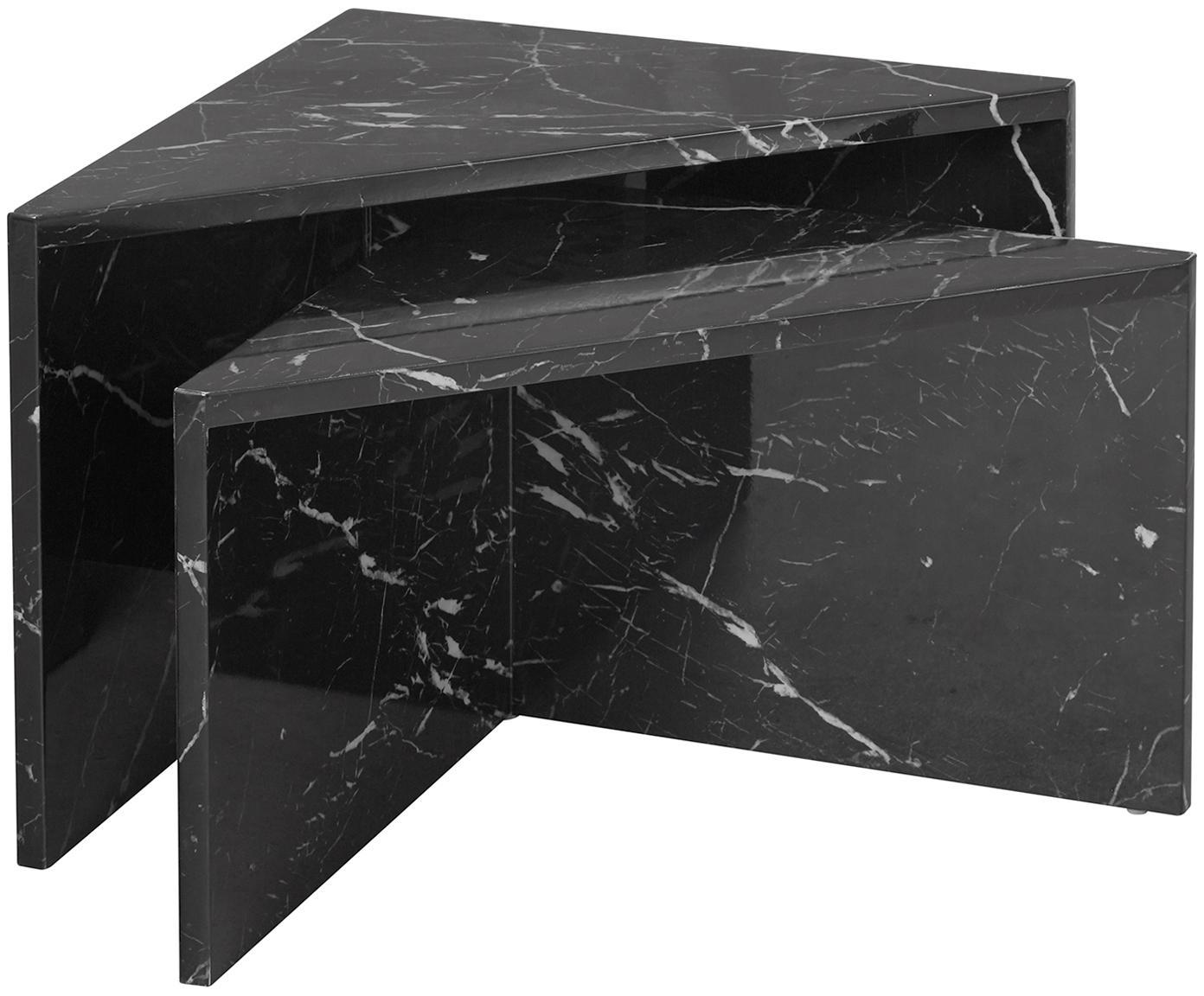 Set 2 tavolini da salotto effetto marmo Vilma, Pannello di fibre a media densità (MDF) rivestito con carta effetto marmo laccata, Nero, marmorizzato lucido, Diverse dimensioni