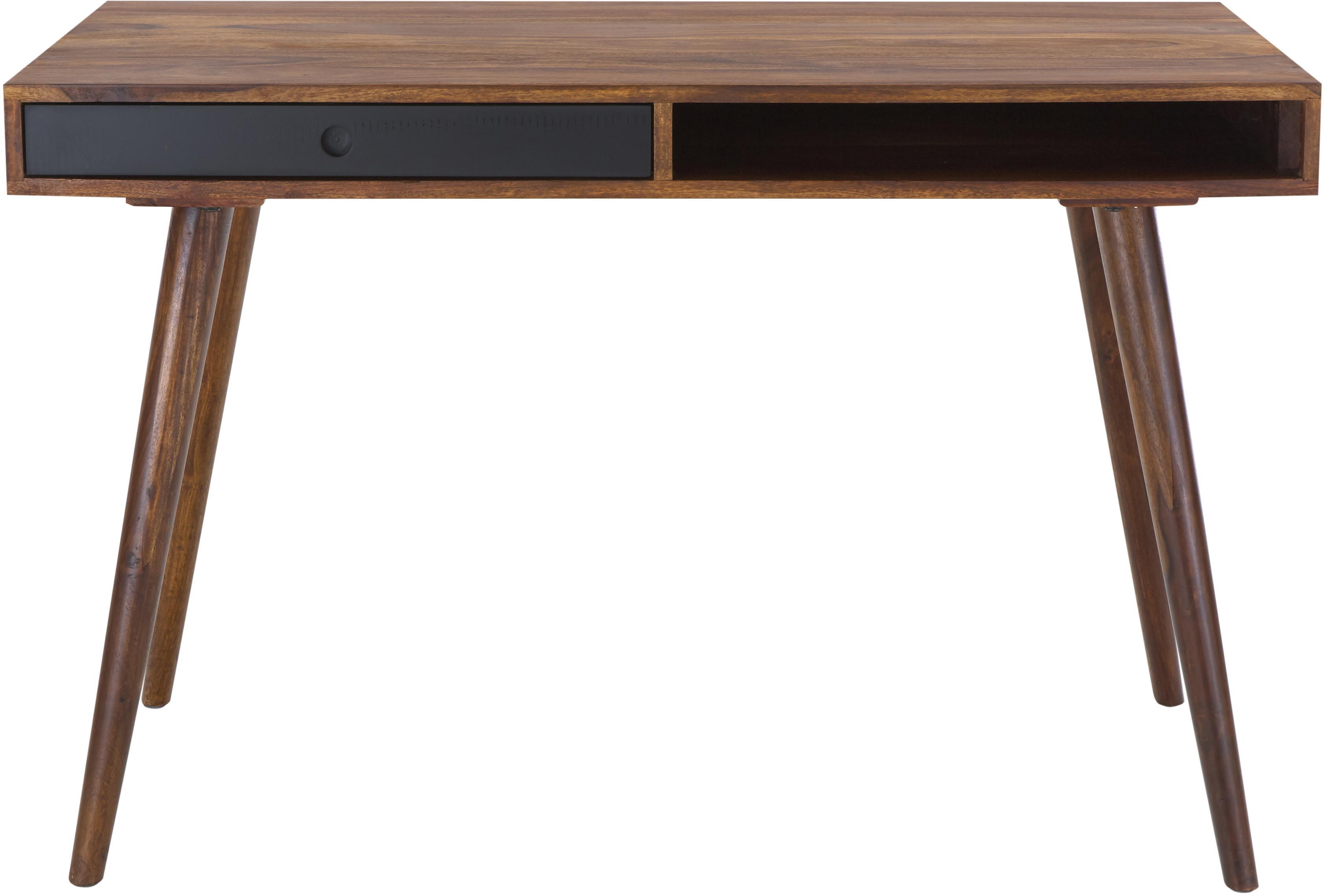 Scrivania in legno massello con cassetto Repa, Legno di Sheesham massello e verniciato, Legno di Sheesham, nero, Larg. 117 x Alt. 60 cm