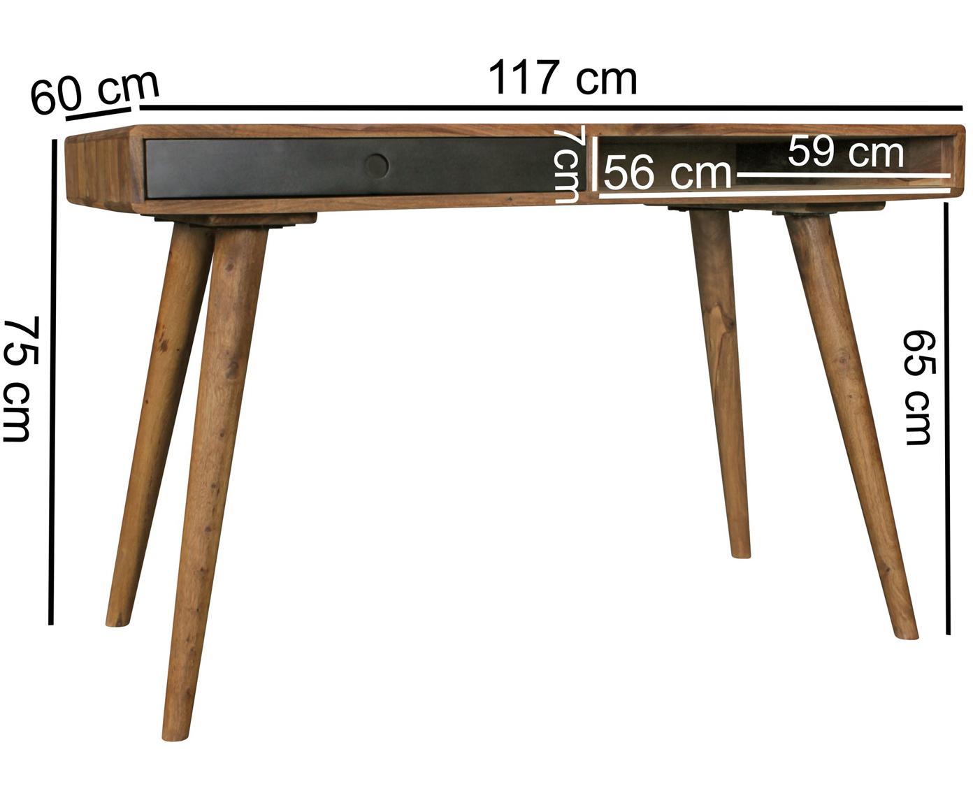Bureau Repa uit massief hout, Sheesham hout, massief, gelakt,, Sheesham hout, zwart, B 117 x D 60 cm