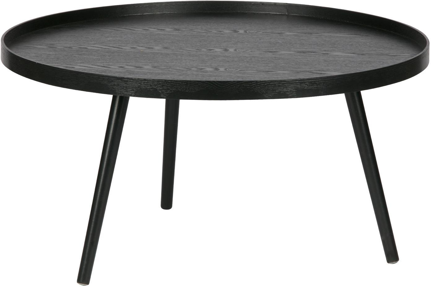 Mesa de centro redonda de madera Mesa, Tablero de fibras de densidad media (MDF) chapada en madera de pino pintado, Negro, Ø 78 cm