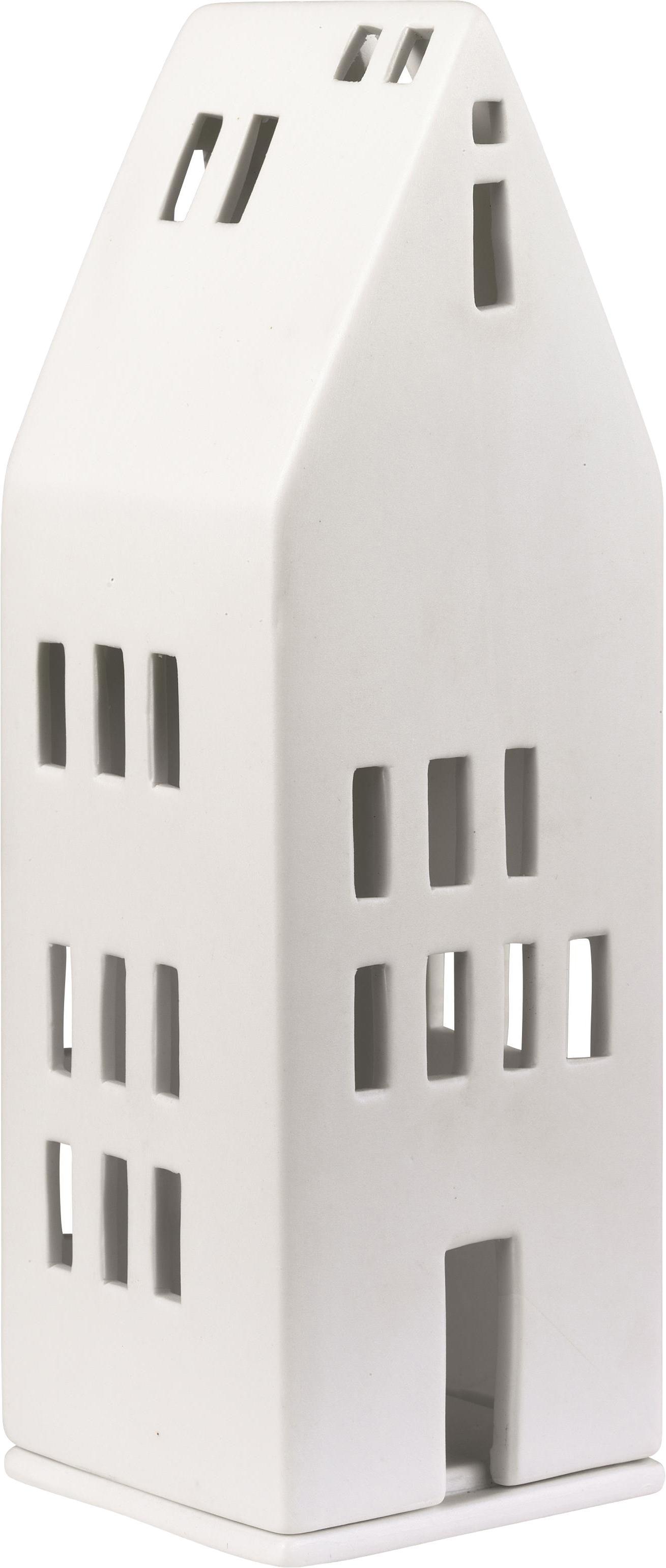 Portacandela Building, Porcellana, Bianco, Larg. 8 x Alt. 22 cm
