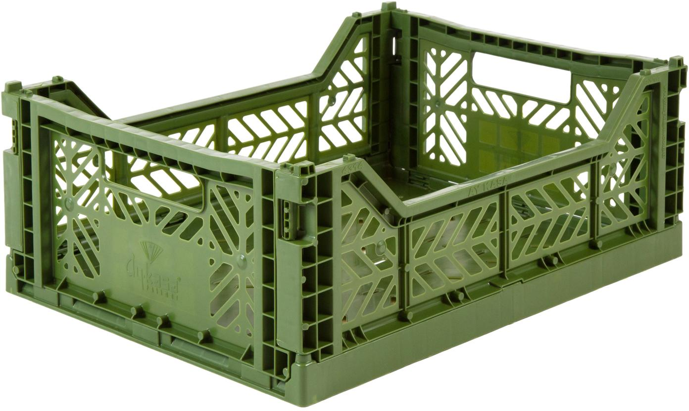 Caja pegable apilable Khaki, mediana, Plástico reciclado, Caqui, An 40 x Al 14 cm