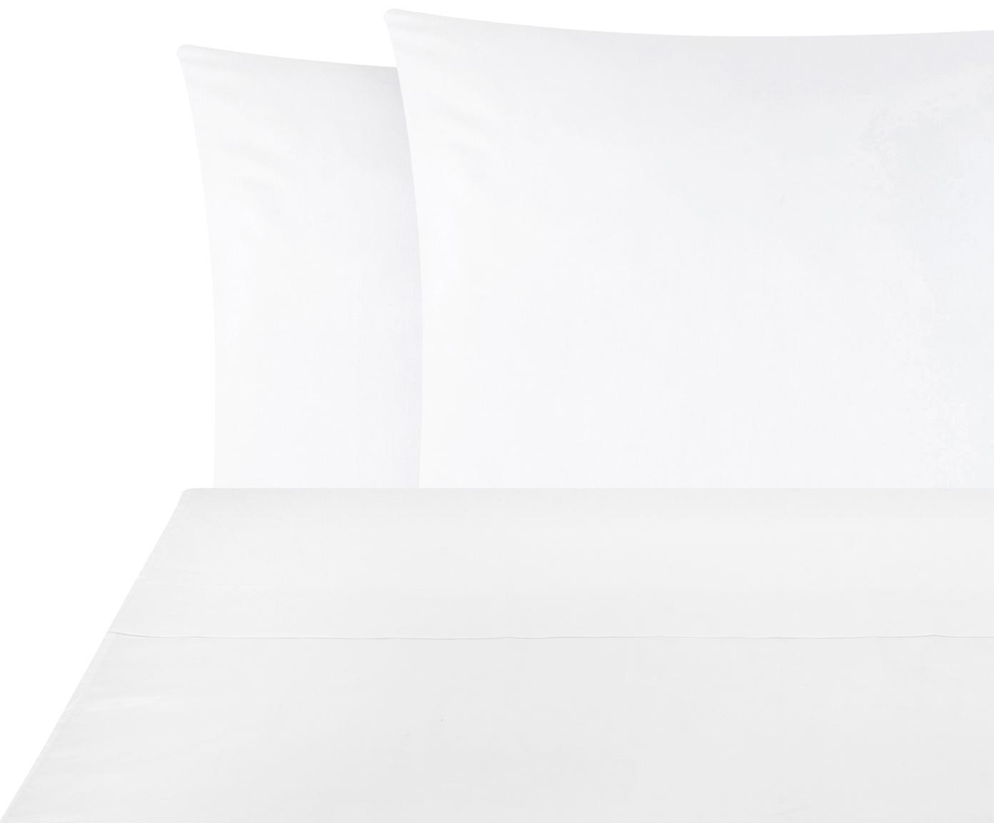 Set lenzuola in raso di cotone Comfort 2 pz, Tessuto: raso Densità del filo 250, Bianco, 240 x 300 cm