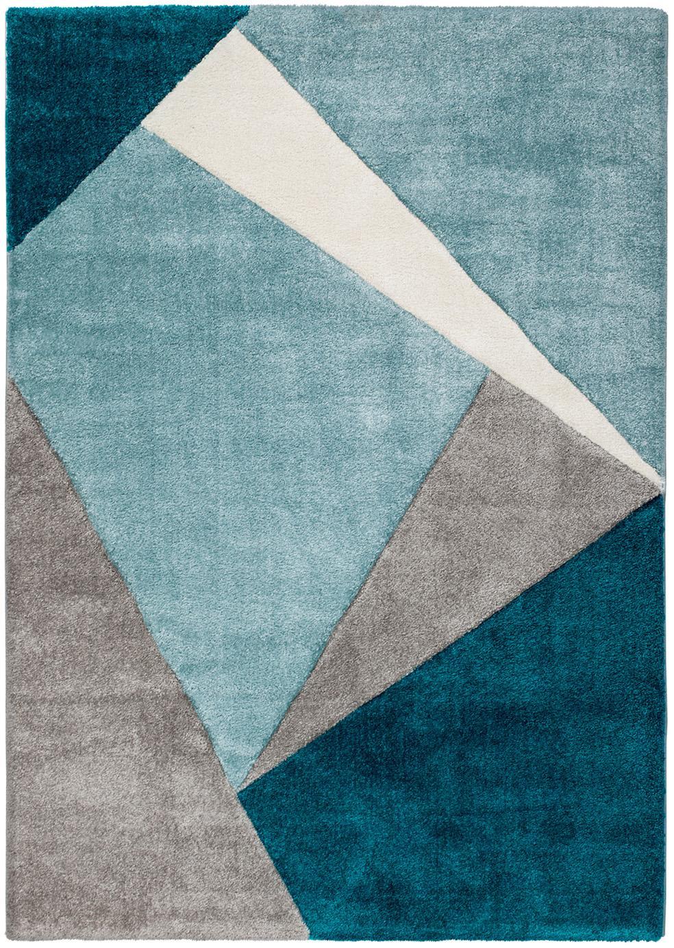 Teppich My Broadway mit geometrischem Muster in Beige-Blau, Flor: 100% Polypropylen, Blautöne, Beige, Creme, B 120 x L 170 cm (Größe S)