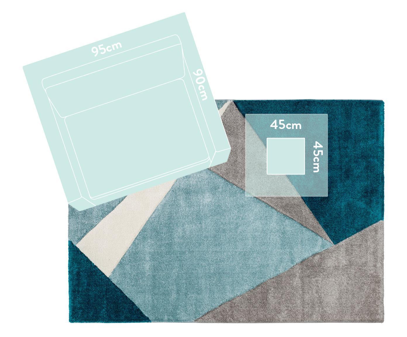Tappeto con motivo geometrico My Broadway, Retro: juta, Tonalità blu, beige, crema, Larg. 200 x Lung. 290 cm (taglia L)
