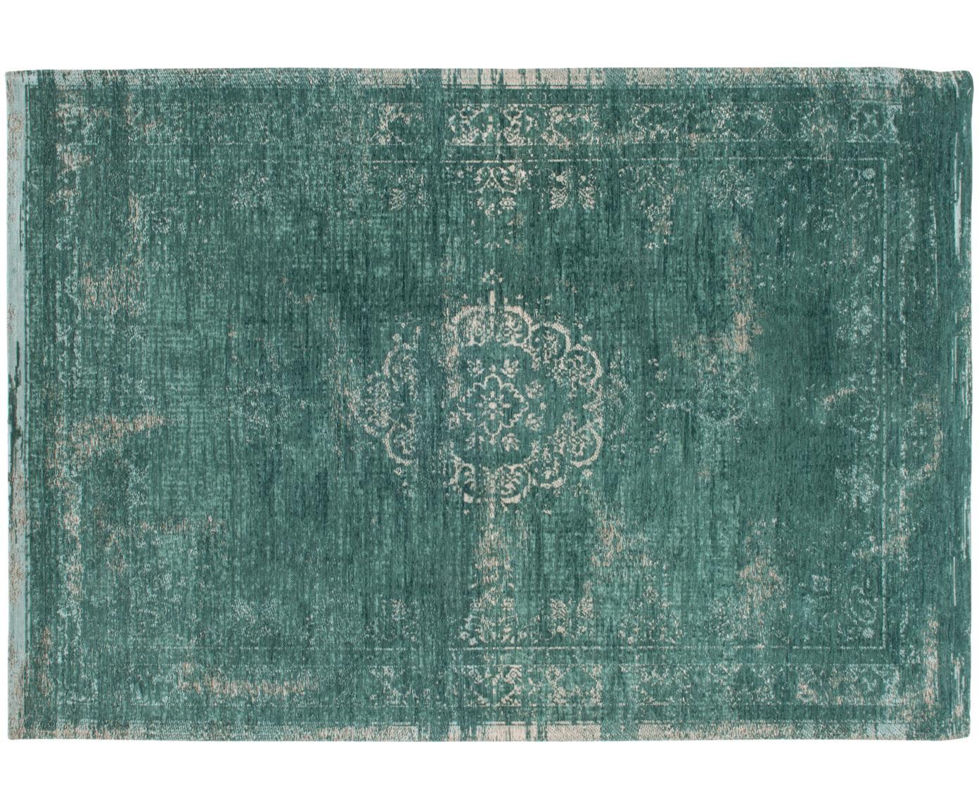 Vintage chenille vloerkleed Medaillon, Bovenzijde: chenille (katoen), Weeftechniek: jacquard, Onderzijde: chenille, gecoat met late, Groen, grijs, B 140 x L 200 cm (maat S)