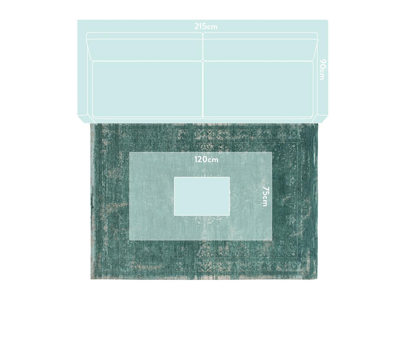 Vintage Chenilleteppich Medaillon, Vorderseite: 100% Chenillegarn (Baumwo, Webart: Jacquard, Rückseite: Chenillegarn, latexbeschi, Grün, Grau, B 140 x L 200 cm (Größe S)