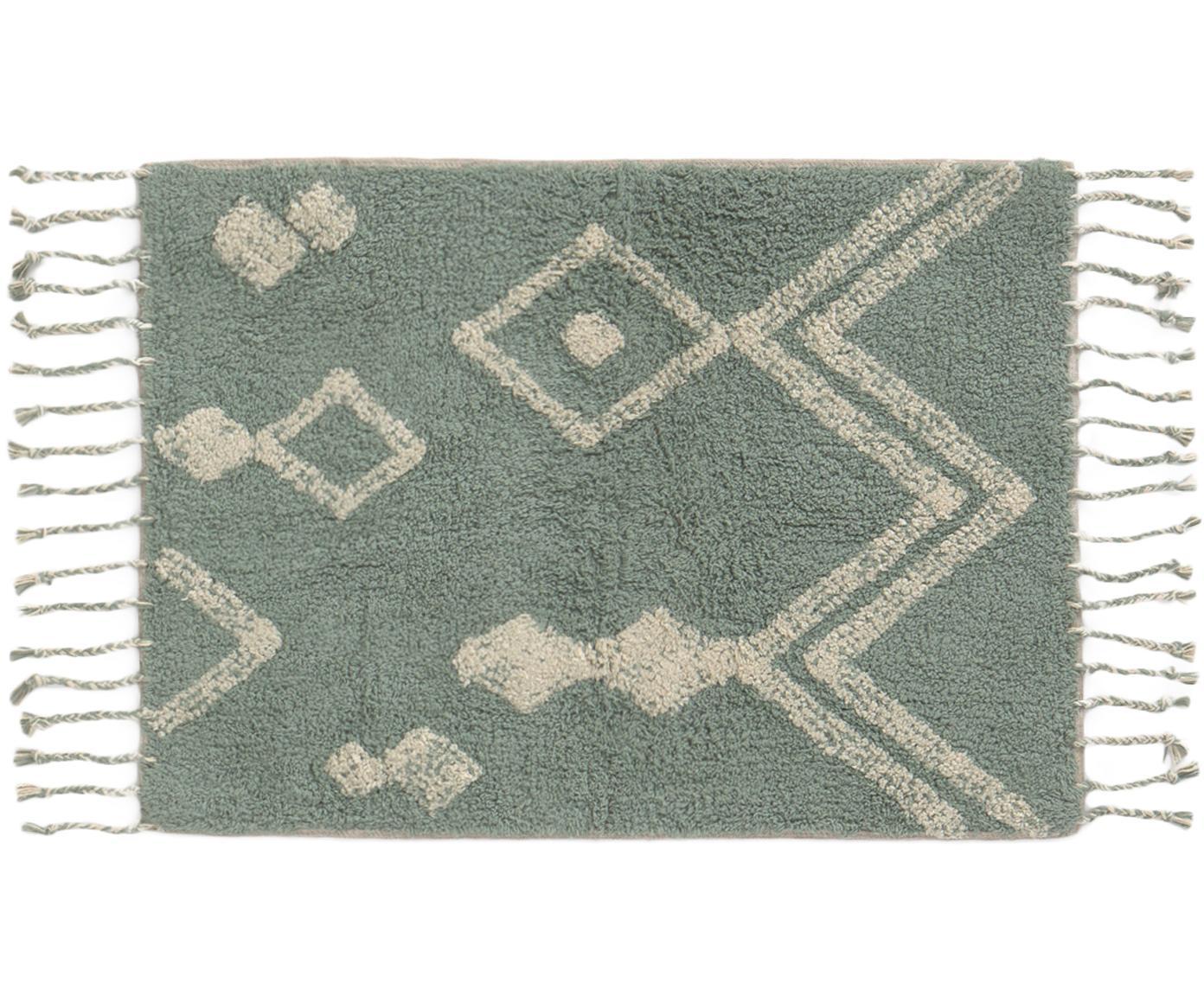 Badvorleger Fauve im Ethno Style, 100% Baumwolle, Grün, Gebrochenes Weiß, 50 x 70 cm