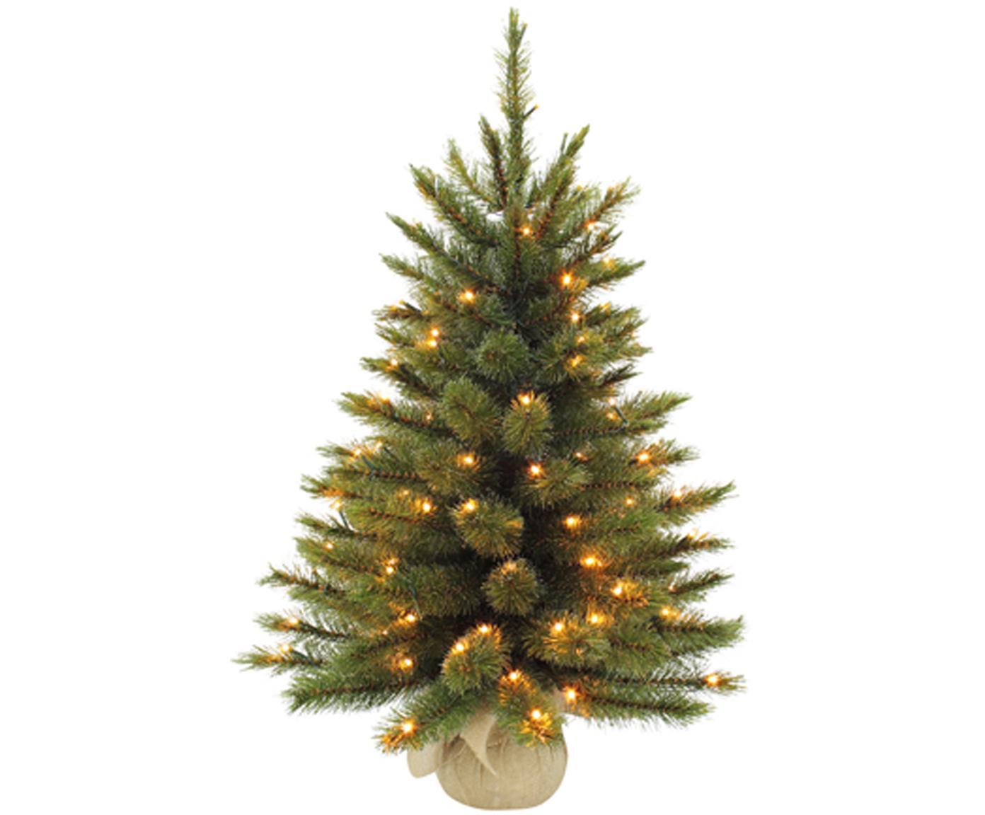 Albero di Natale piccolo con luci LED Forest, Verde, Ø 46 x Alt. 60 cm