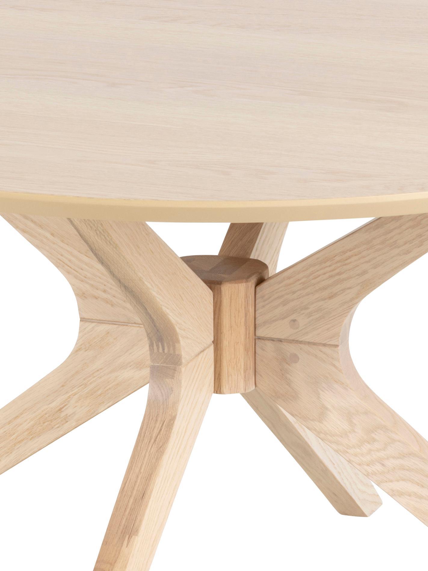 Runder Couchtisch Duncan aus Eichenholz, Tischplatte: Mitteldichte Holzfaserpla, Beine: Eichenholz, massiv, Eichenholz, Ø 80 x H 45 cm