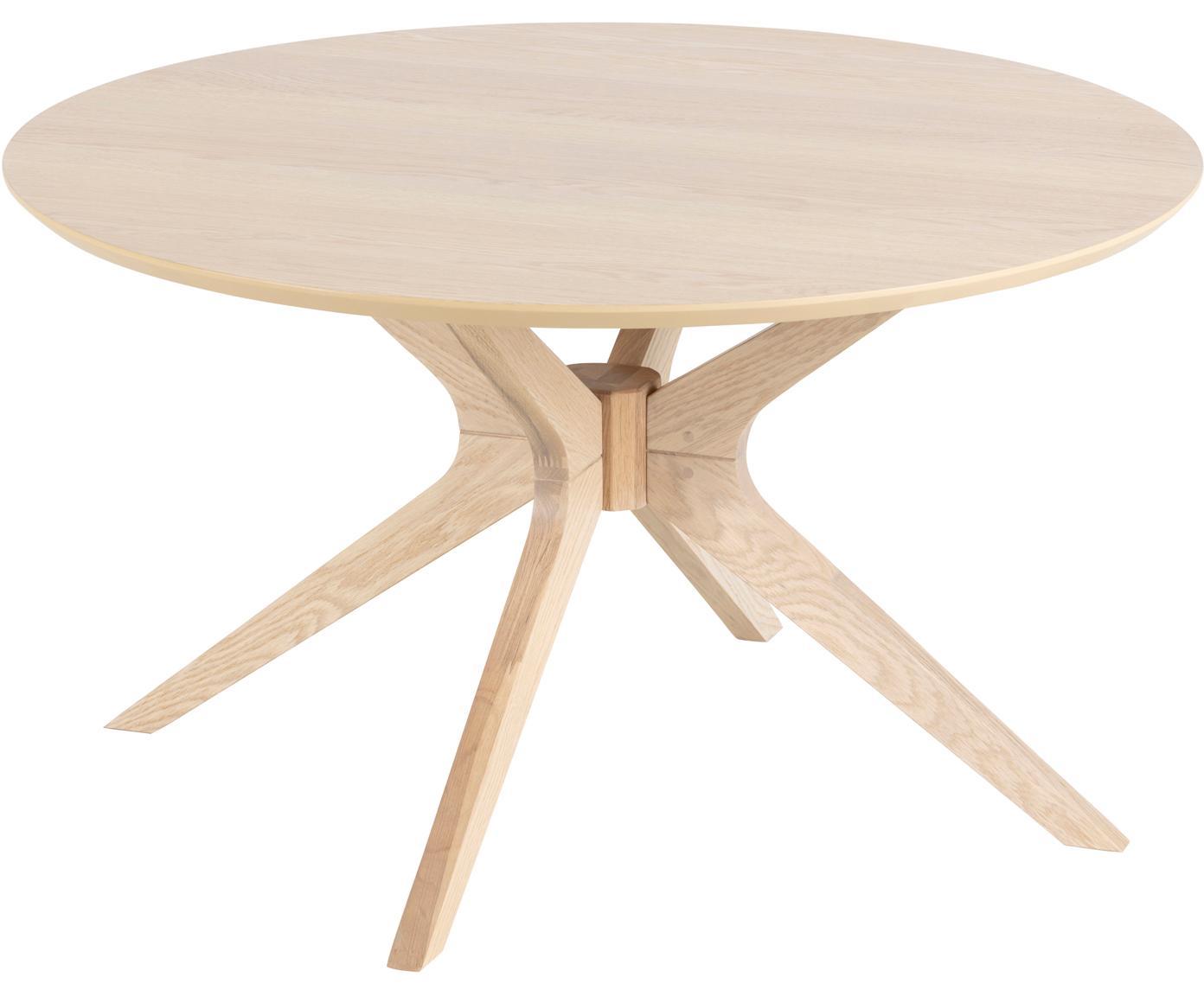 Okrągły stolik kawowy z drewna dębowego Duncan, Blat: fornir z drewna dębowego, Nogi: drewno dębowe, lite, Drewno dębowe, Ø 80 x W 45 cm