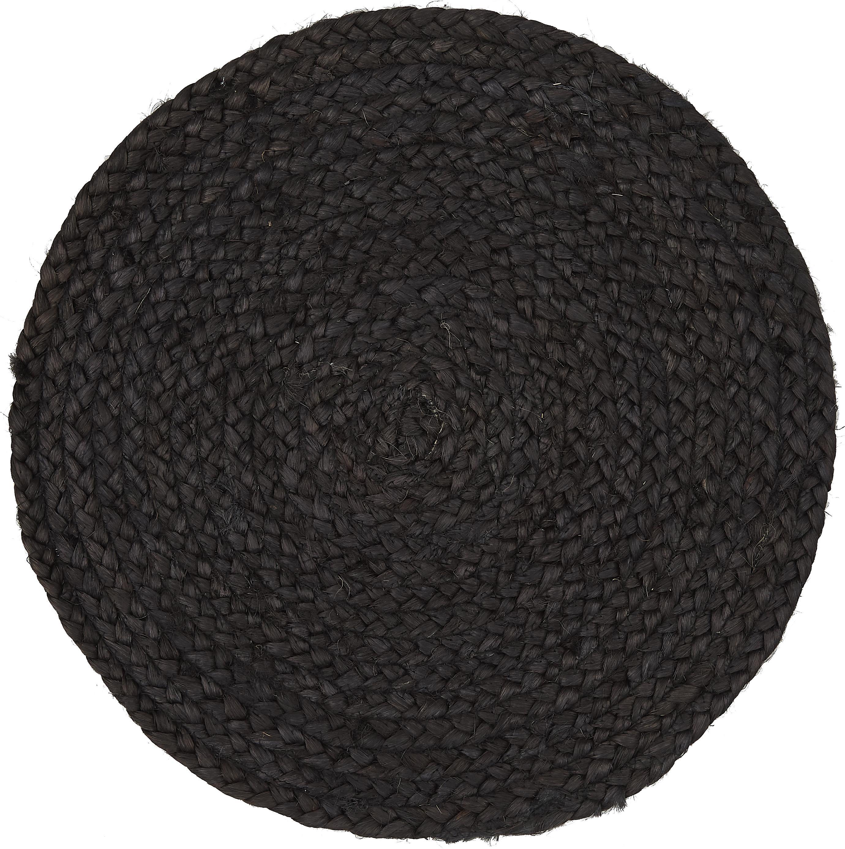Ronde jute placemats Thrill, 4 stuks, Gekleurd jute, Zwart, Ø 35 cm