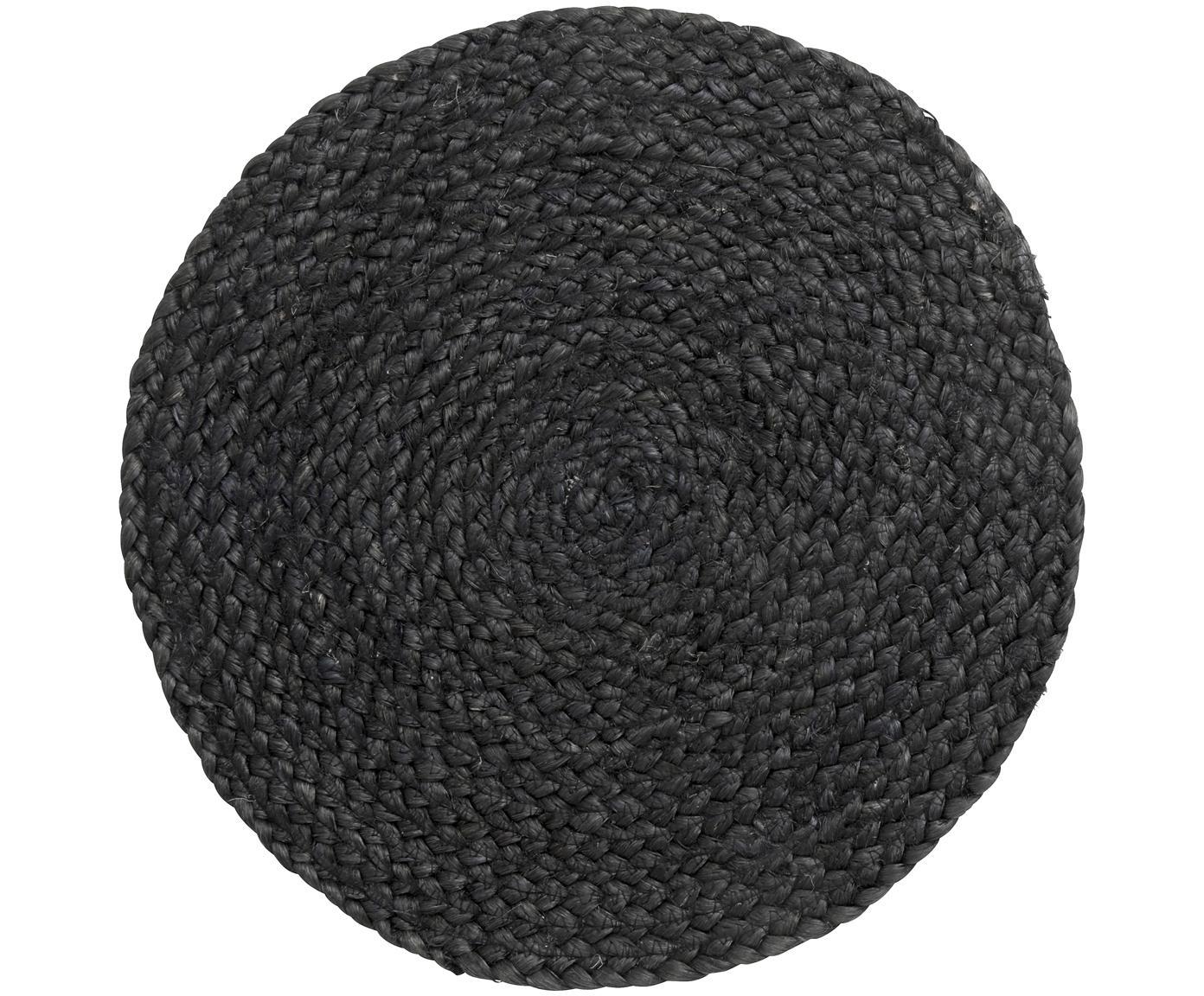 Okrągła podkładka z juty Thrill, 4 szt., Juta malowana, Czarny, Ø 35 cm