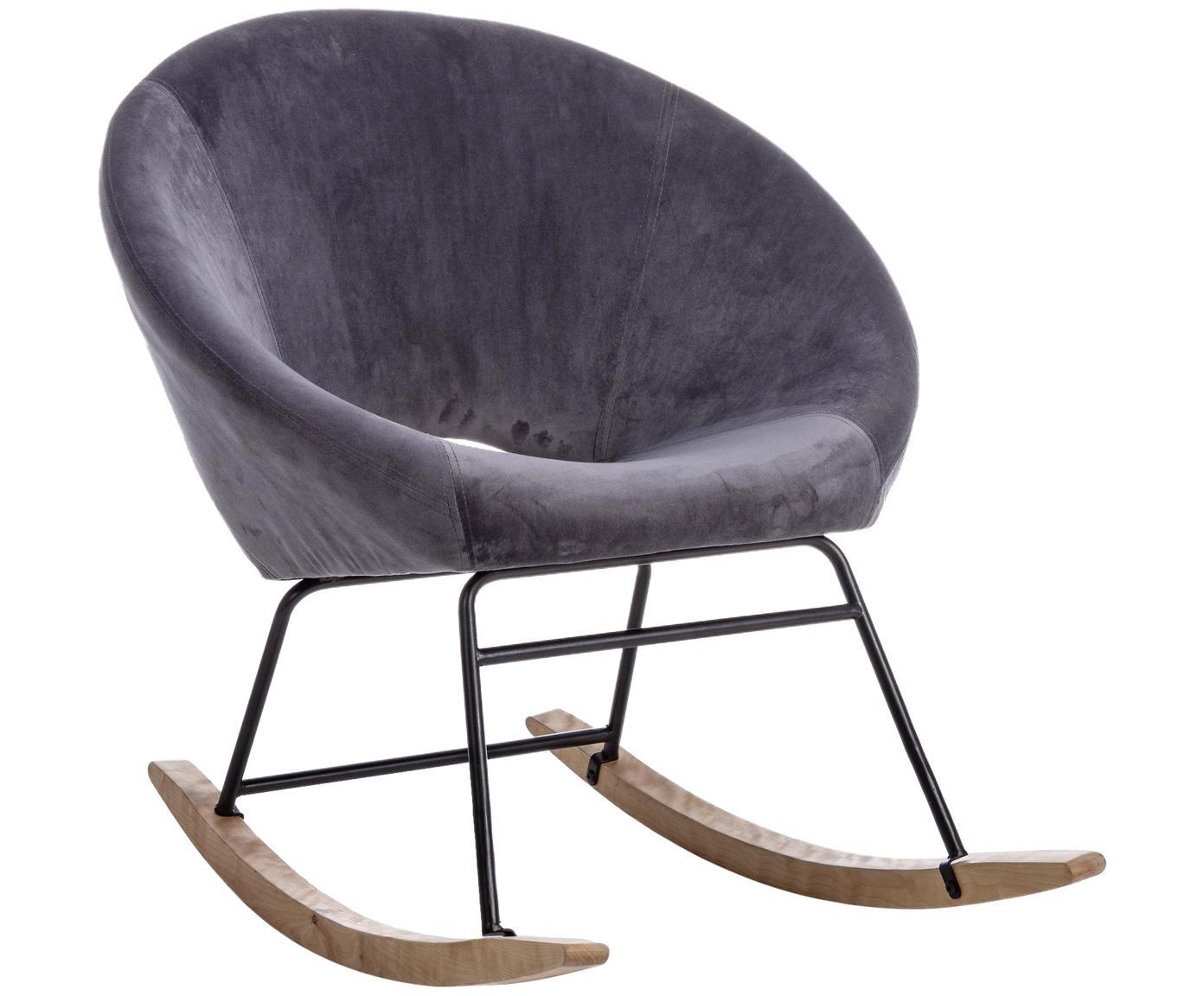 Fluwelen schommelstoel Annika, Bekleding: polyester fluweel, Frame: gepoedercoat metaal, Frame: multiplex, metaal, Fluweel grijs, B 74 x D 77 cm
