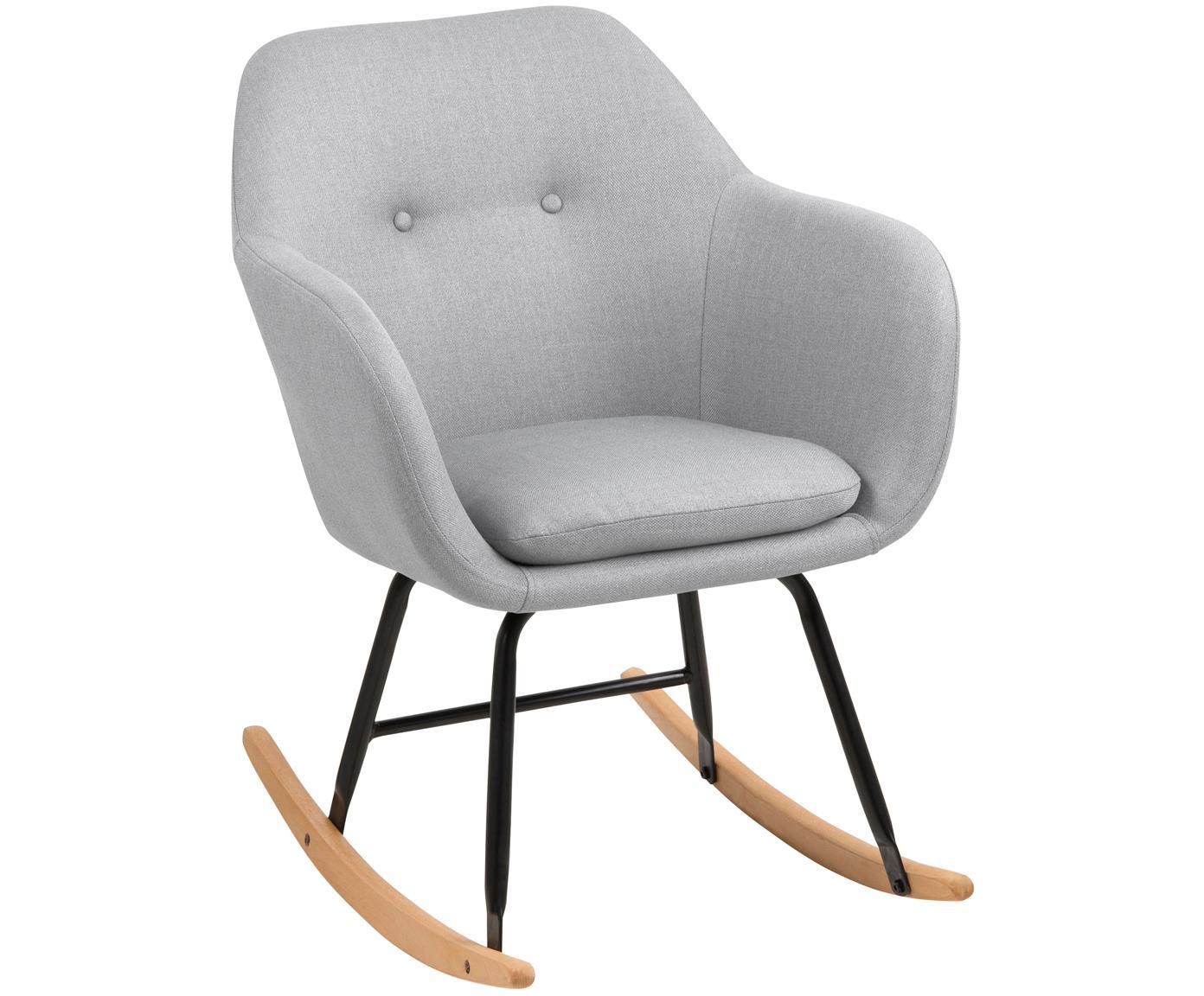 Fotel bujany  Emilia, Tapicerka: 90% poliester, 8% wiskoza, Nogi: metal malowany proszkowo, Tapicerka: jasny szary Nogi: czarny Płozy: drewno bukowe, S 57 x W 81 cm