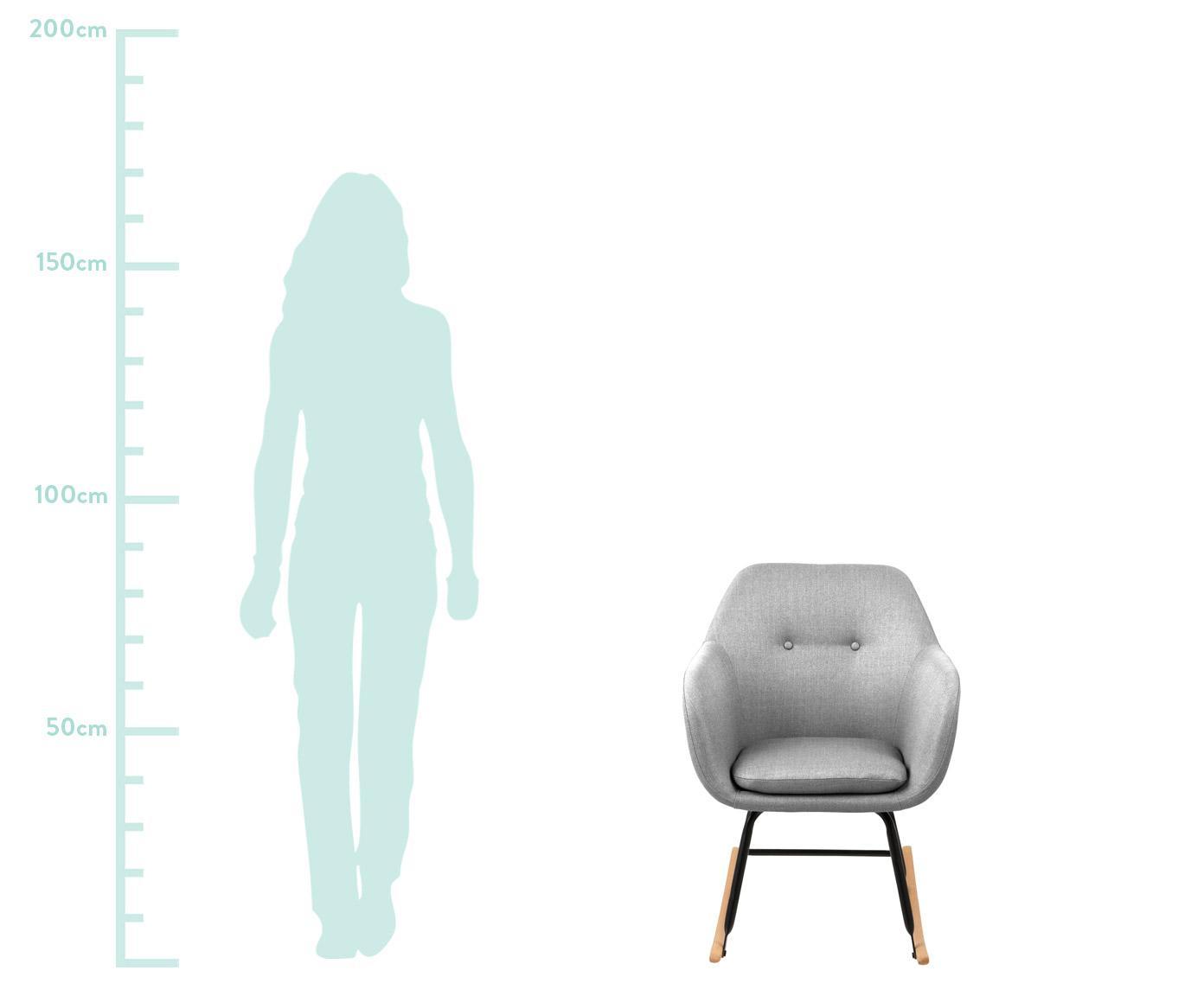 Schaukelstuhl Emilia in Hellgrau, Bezug: 90% Polyester, 8% Viskose, Beine: Metall, pulverbeschichtet, Webstoff Hellgrau, 57 x 81 cm