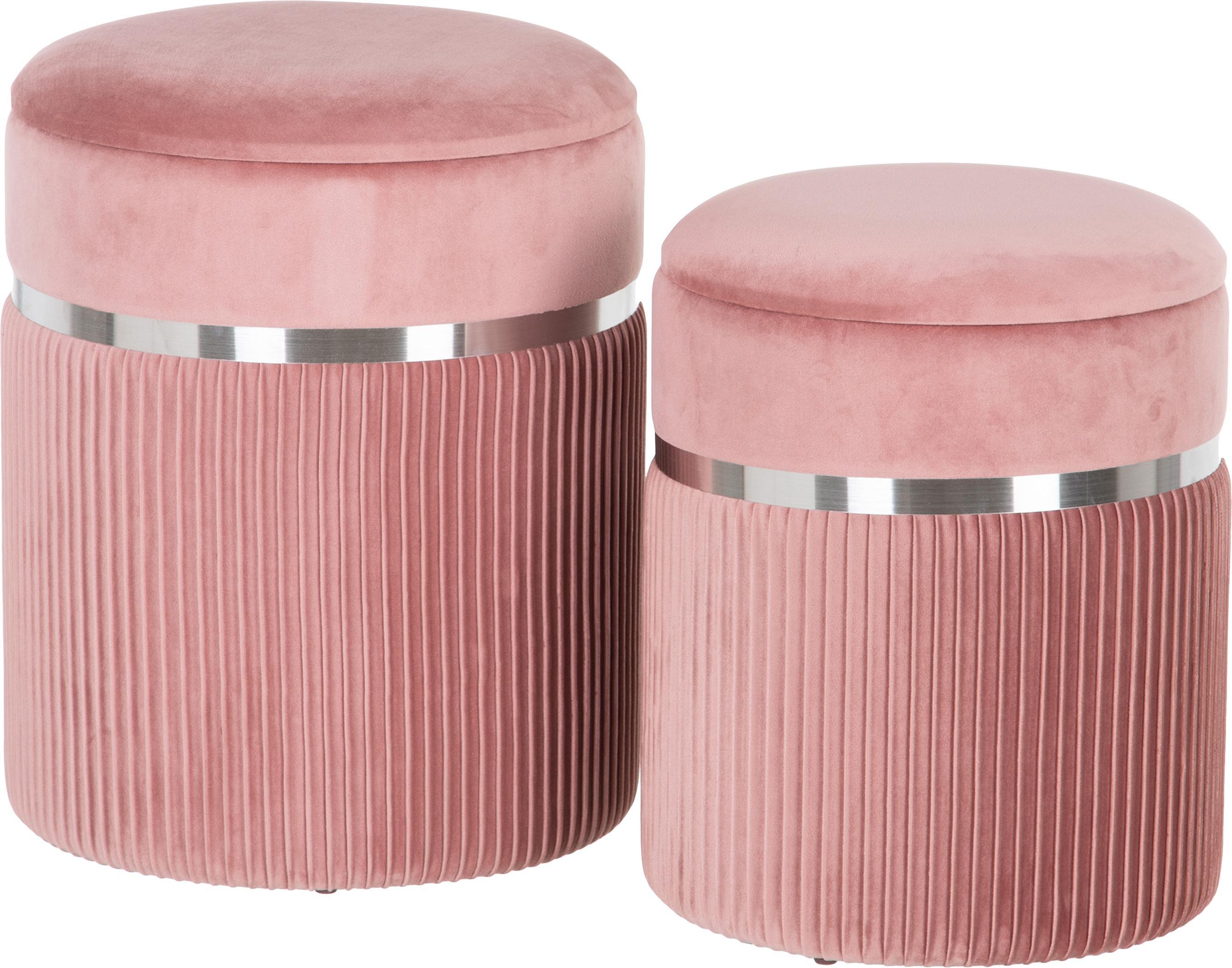 Taburetes de terciopelo Chest, 2pzas., con espacio de almacenamiento, Tapizado: poliéster (terciopelo), Rosa, plateado, Set de diferentes tamaños