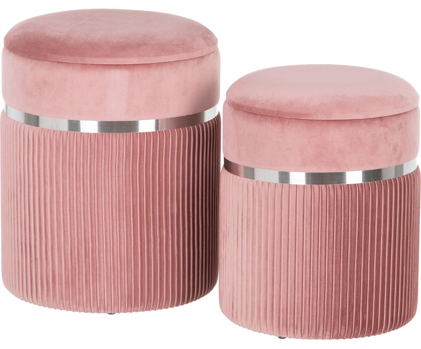 Set 2 pouf contenitori in velluto Chest, Rivestimento: poliestere (velluto), Sottostruttura: legno, Rosa, argentato, Diverse dimensioni