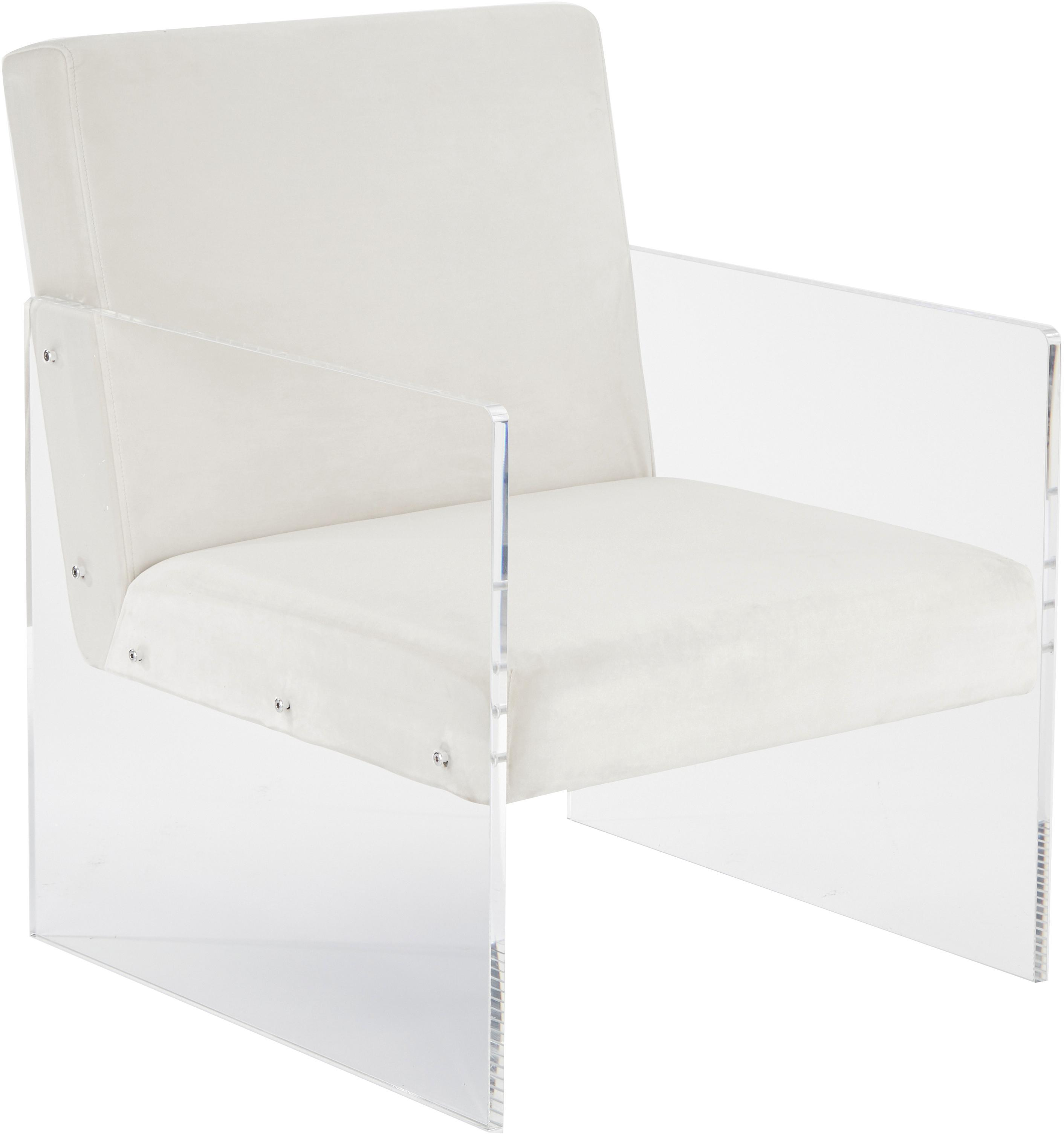 Fluwelen lounge fauteuil Ayden, Bekleding: fluweel (polyester), Frame: massief populierenhout, m, Poten: acrylglas, Fluweel beige, B 64  x D 74 cm