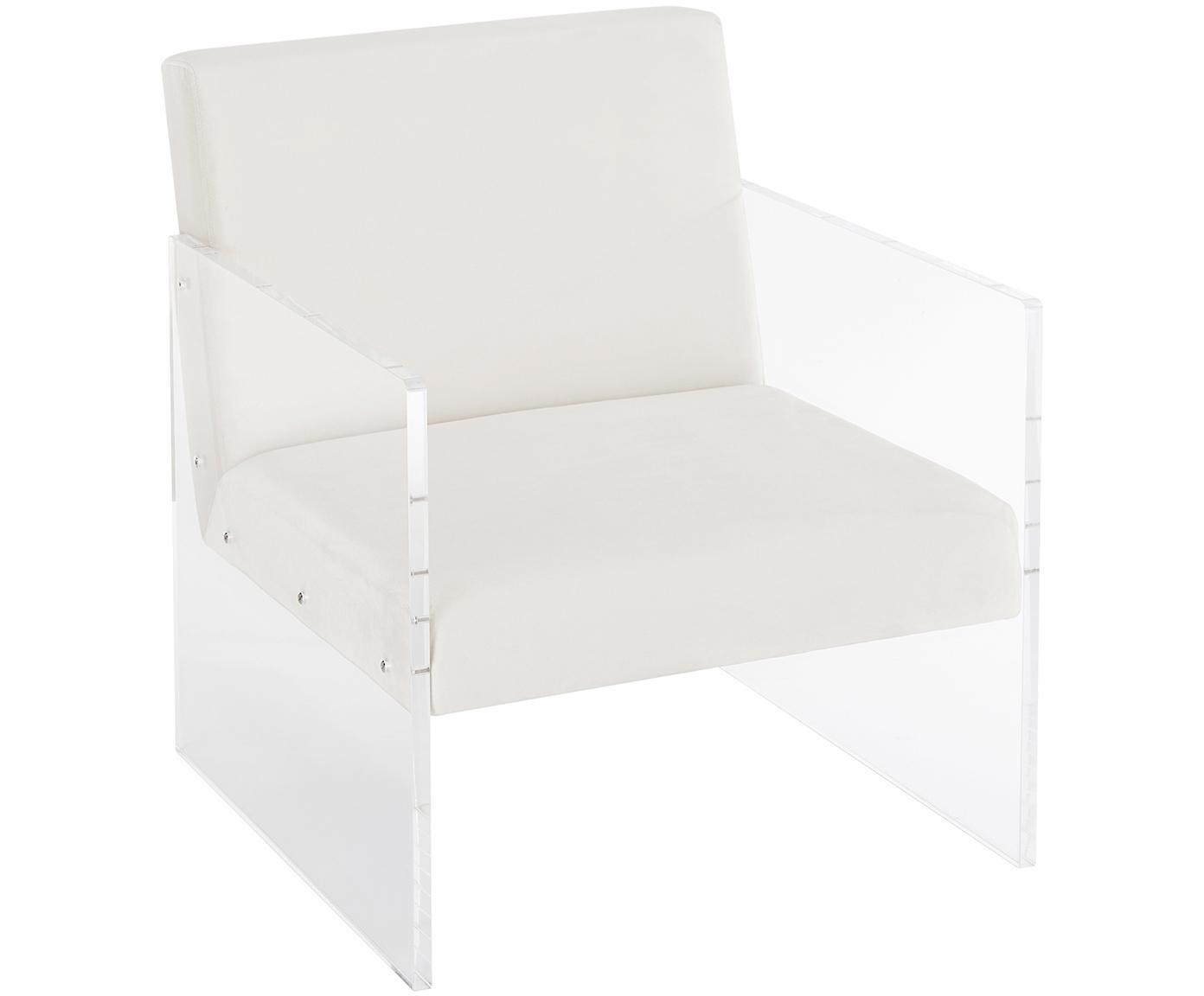 Samt-Loungesessel Ayden, Bezug: Samt (Polyester) 25.000 S, Gestell: Massives Pappelholz, Sper, Beine: Acrylglas, Samt Beige, B 64 x T 74 cm