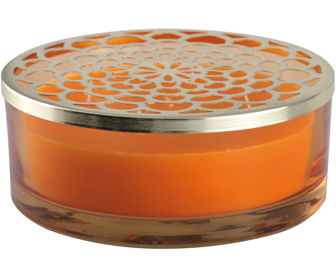Candela profumata Narana (arancione), Contenitore: vetro, Coperchio: metallo, Dorato, arancione, Ø 20 x Alt. 8 cm