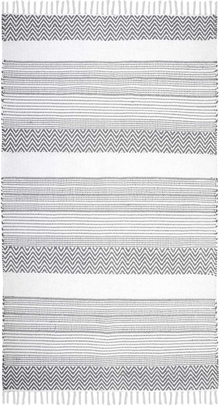 Katoenen vloerkleed Iceland met grafisch patroon in grijs/wit, Katoen, Grijs, wit, B 90 x L 150 cm (maat S)