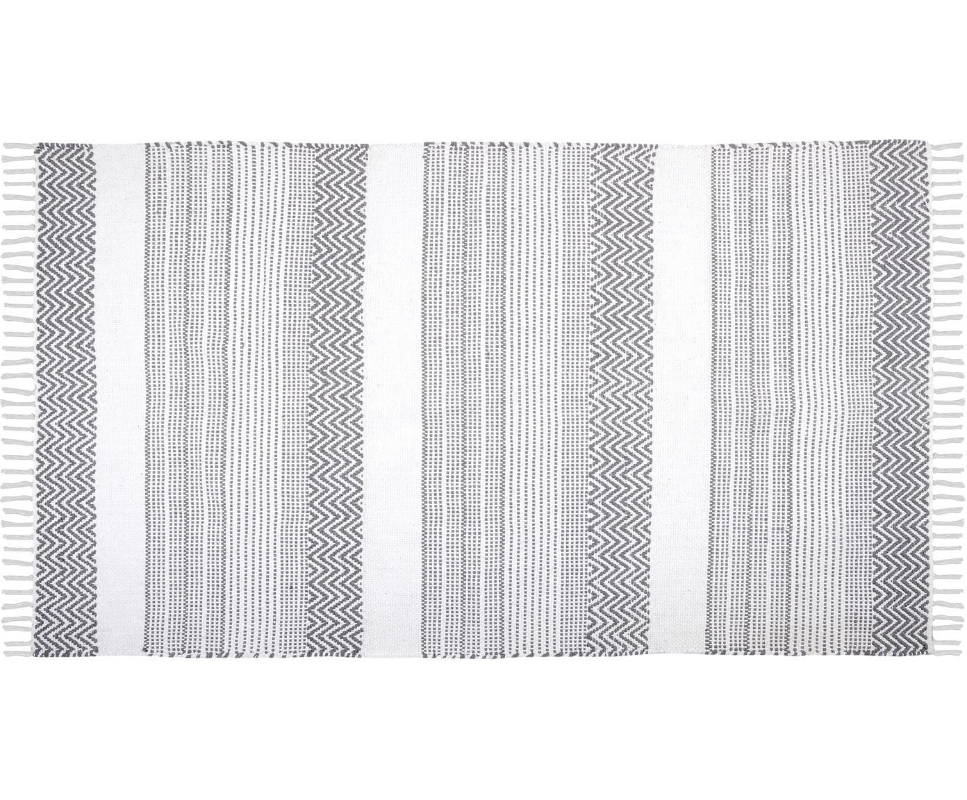Baumwollteppich Iceland mit grafischem Streifendesign, 100% Baumwolle, Grau, Weiss, B 90 x L 150 cm (Grösse XS)