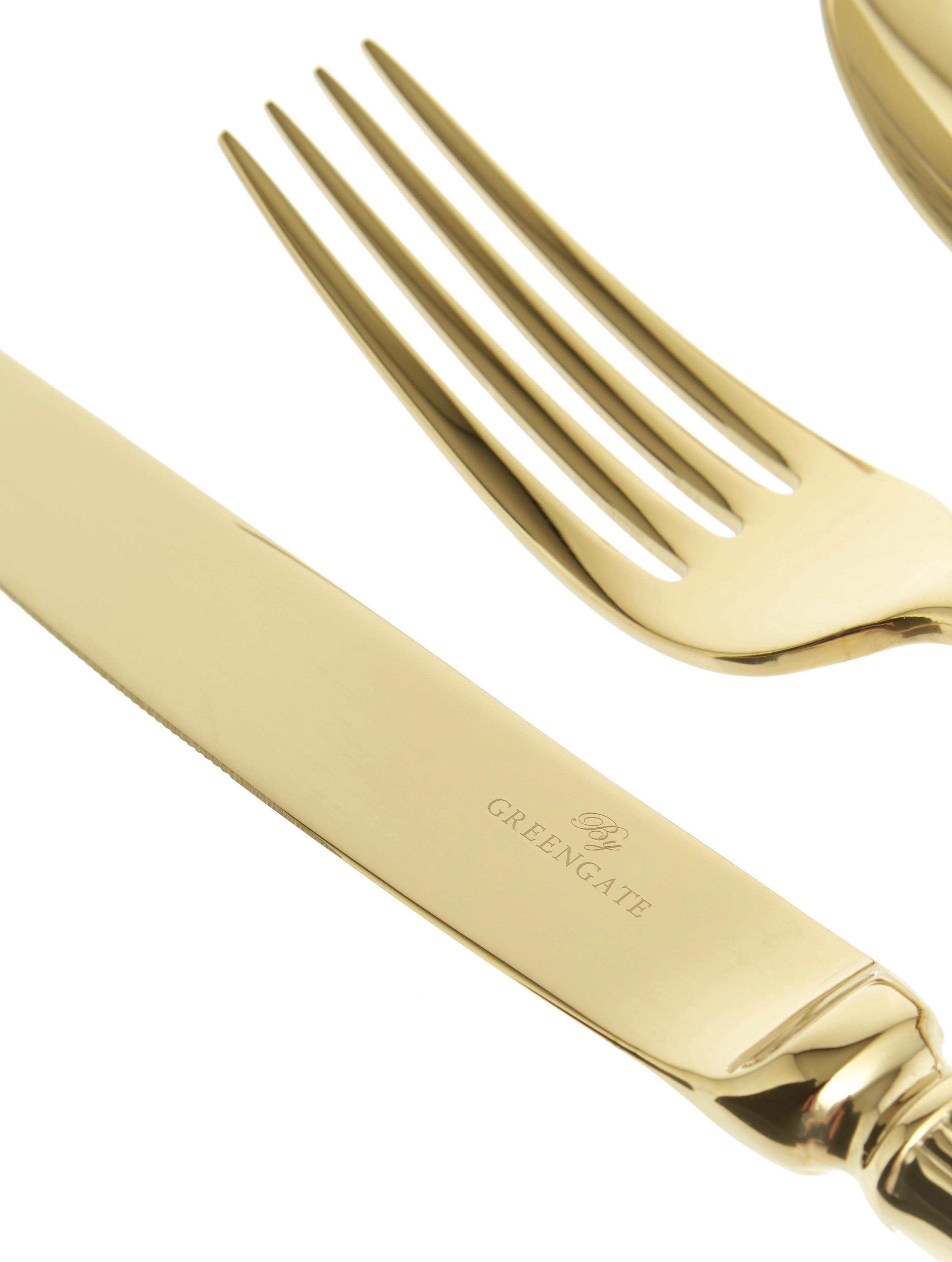 Posate dorate con struttura scanalata sul manico Elegance 4 pz, Acciaio inossidabile, rivestimento PVD, Dorato, Lung. 21 cm