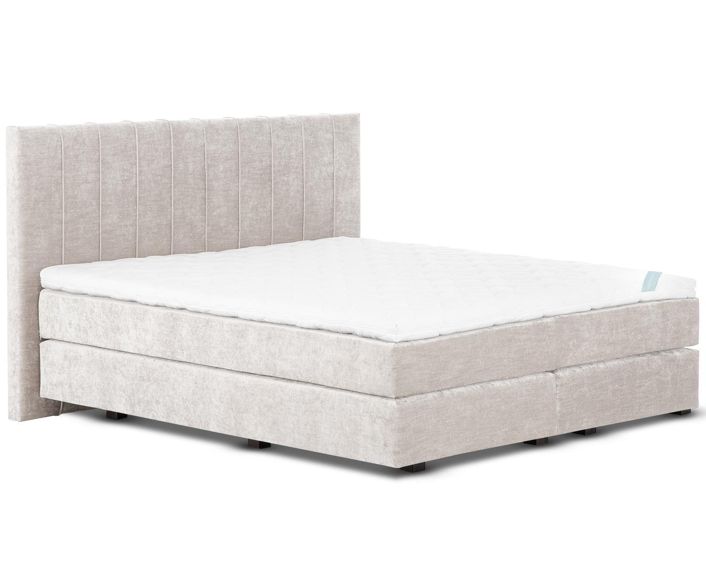 Łóżko kontynentalne z aksamitu premium Lacey, Nogi: lite drewno bukowe, lakie, Beżowy, 140 x 200 cm