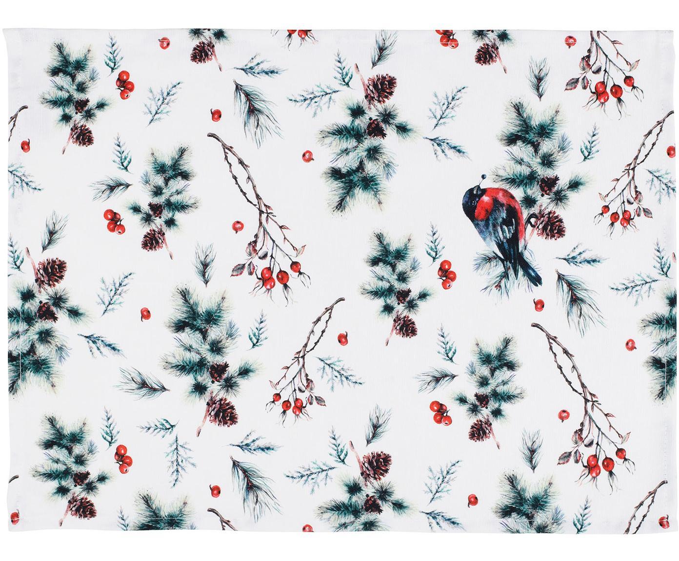 Manteles individuales Aubepine, 2uds., 100%algodón, Verde, rojo, An 38 x L 50 cm