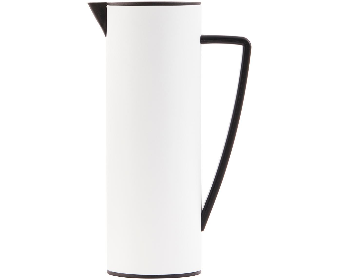 Termo Java, Tapa: madera, metal, recubierto, Interior: vidrio, Blanco, negro, 1 L
