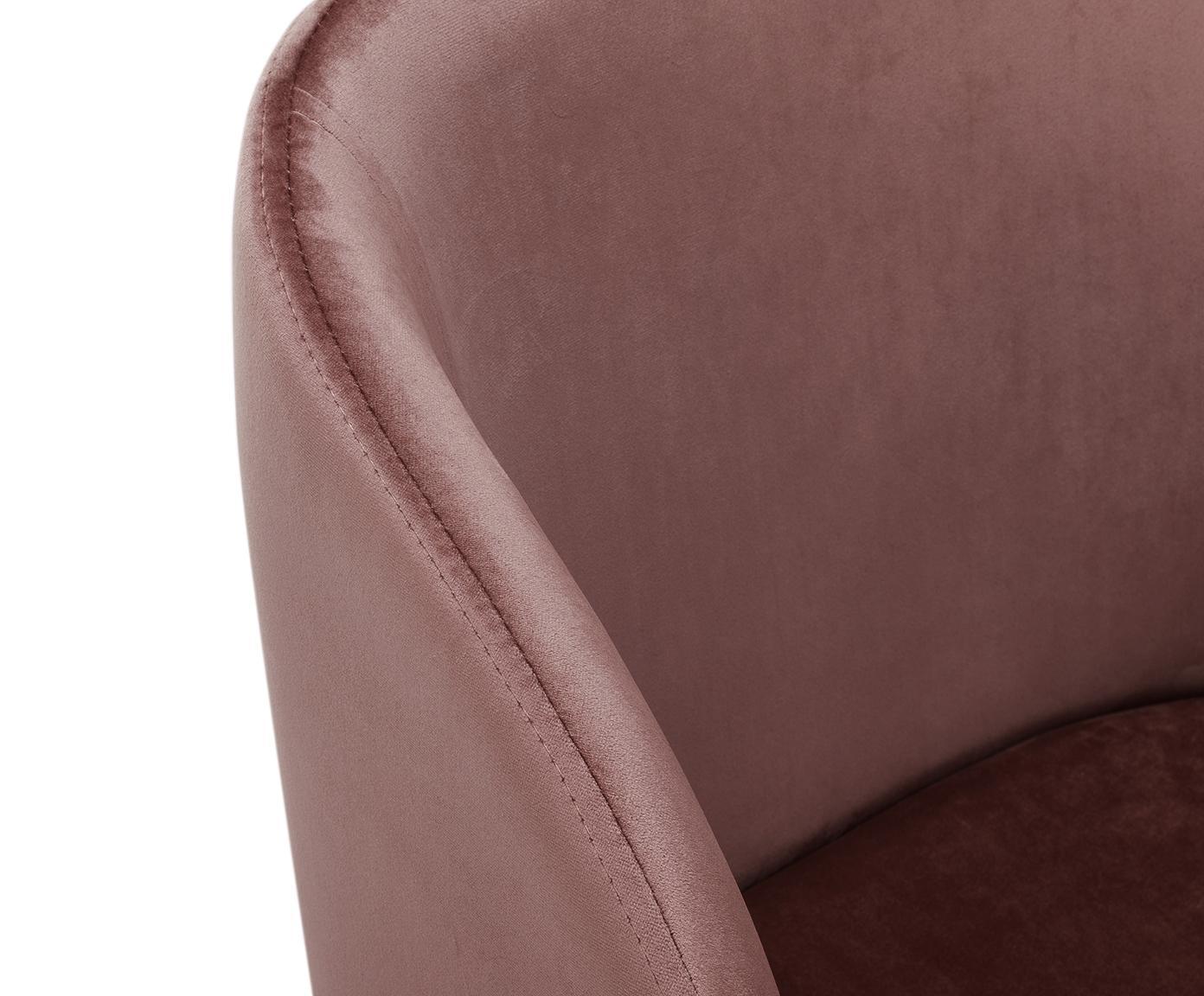 Sillas de terciopelo Yoki, 2uds., Tapizado: terciopelo (poliéster) 20, Patas: metal con aspecto de made, Terciopelo rosa palo, patas roble, An 51 x F 56 cm