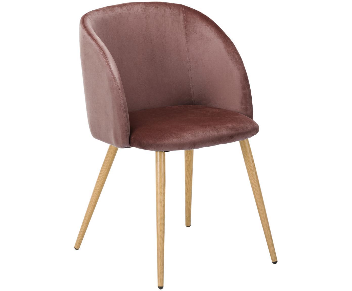 Sedia imbottita in velluto Yoki 2 pz, Rivestimento: velluto (poliestere) 20.0, Gambe: metallo effetto rovere, Velluto rosa cipria, gambe legno di quercia, Larg. 53 x Prof. 57 cm