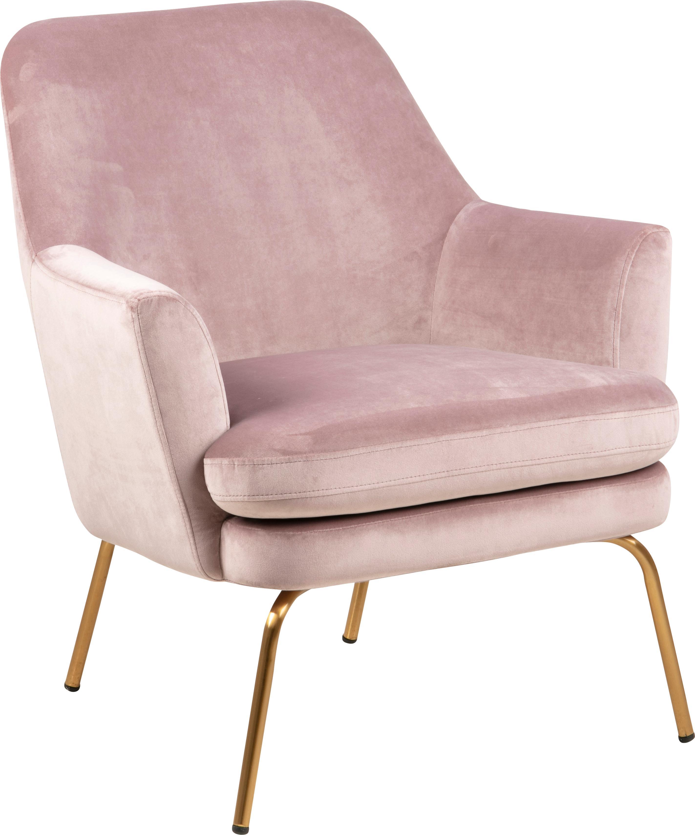 Fluwelen fauteuil Chisa, Bekleding: polyester fluweel, Poten: gelakt metaal, Fluweel roze, B 68 x D 73 cm