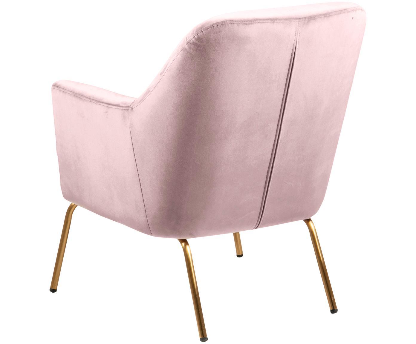 Fotel z aksamitu Chisa, Tapicerka: aksamit poliestrowy 2500, Nogi: metal lakierowany, Aksamitny blady różowy, S 68 x G 73 cm