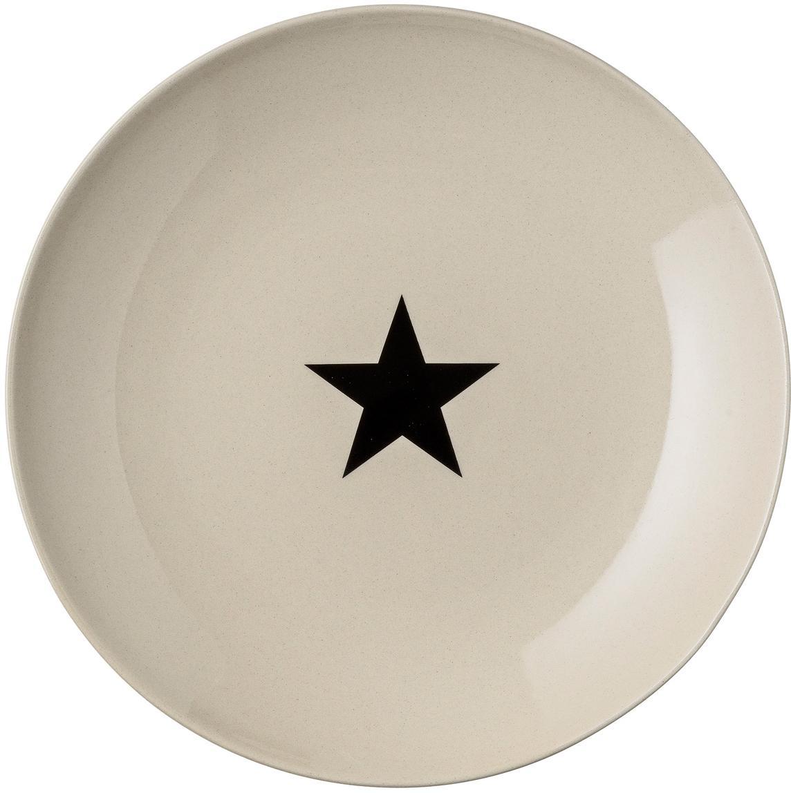 Speiseteller Star mit schwarzem Stern, Steingut, Beige, Schwarz, Ø 25 cm