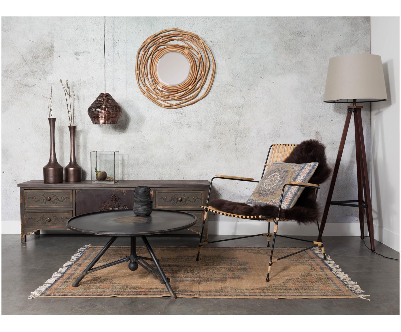 Stolik kawowy z żelaza Brok, Żelazo, malowane proszkowo, antyczne wykończenie, Czarny, Ø 78 x W 40 cm