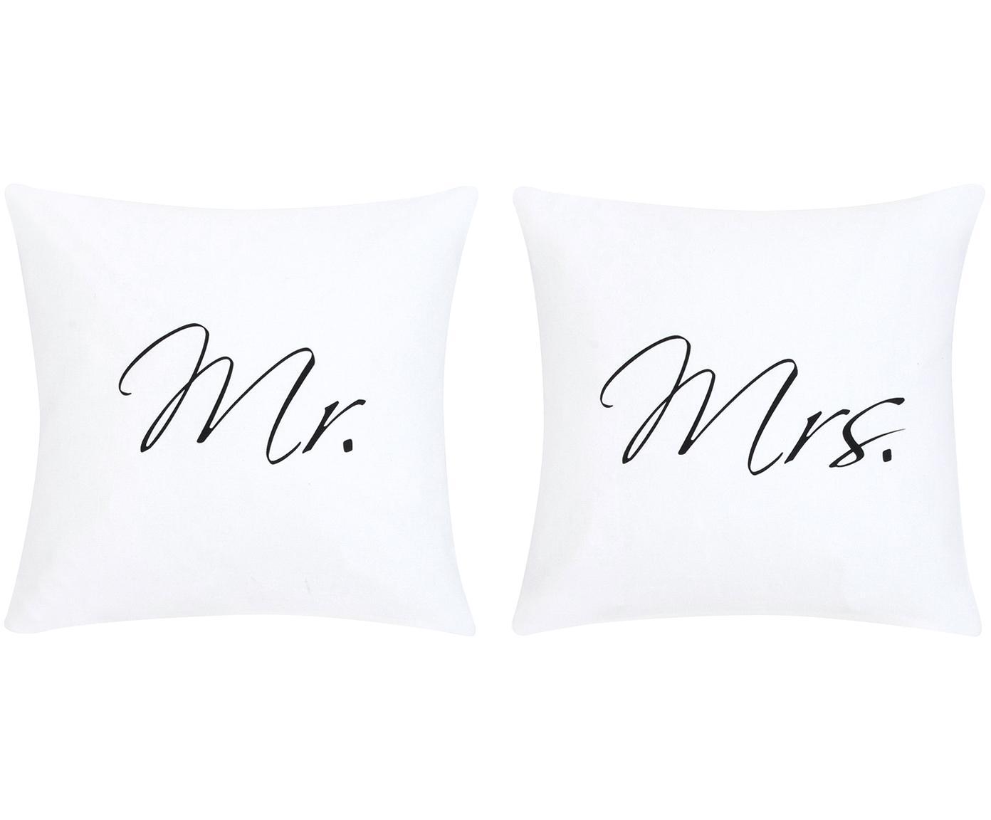 Komplet poszewek na poduszki z perkalu Mr&Mrs, 2 elem., Biały, czarny, S 80 x D 80 cm