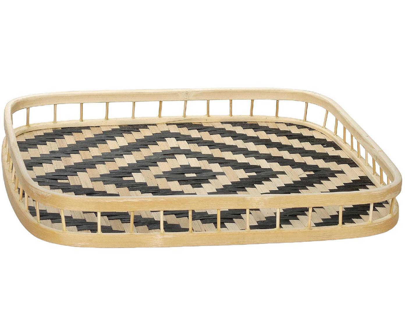 Deko-Tablett Rhombus, Bambus, Beige, Schwarz, B 32 x T 32 cm