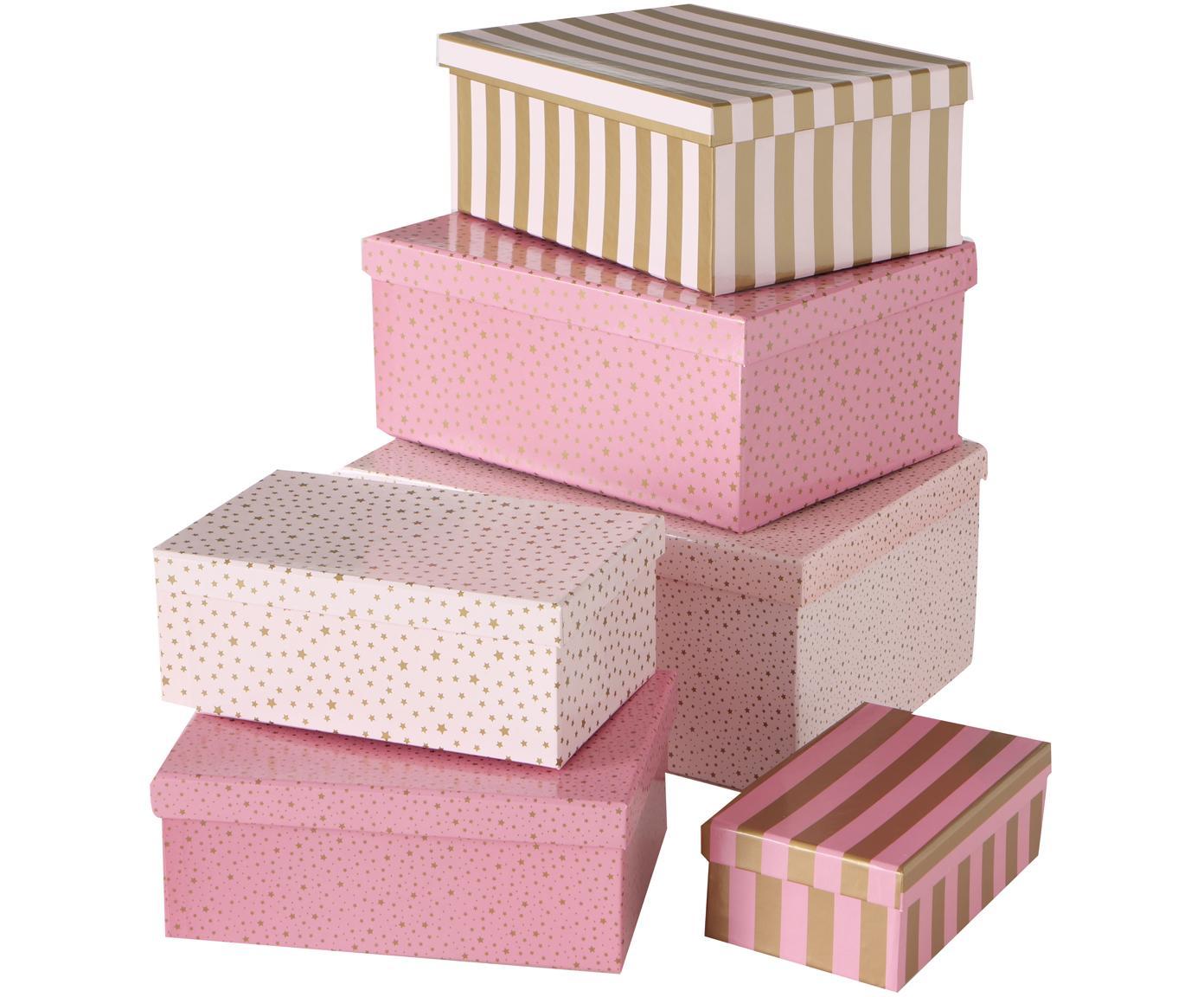 Set 6 scatole regalo Marit, Carta, Tonalità rosa, dorato, Diverse dimensioni