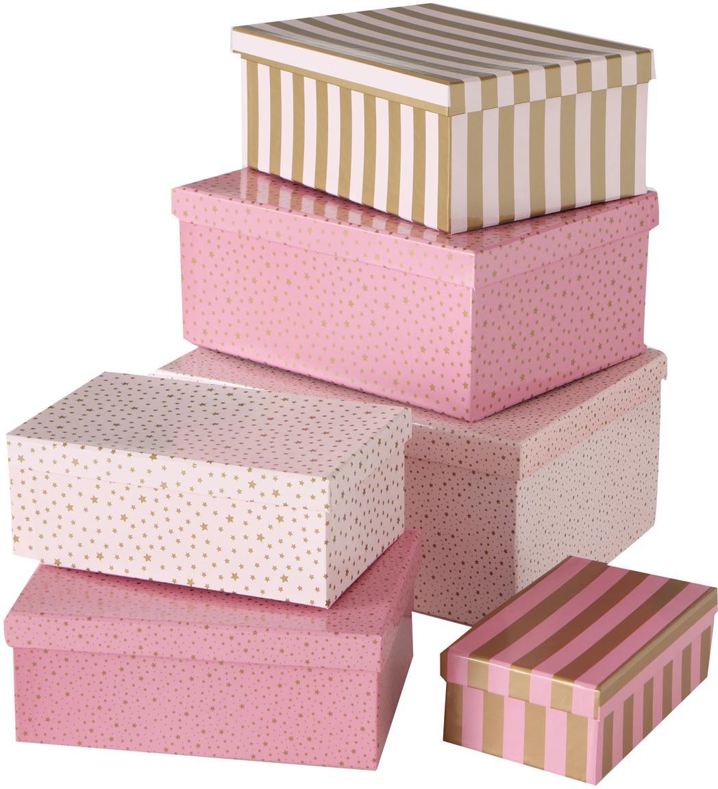 Set 6 scatole regalo Marit, Carta, Tonalità rosa, dorato, Set in varie misure