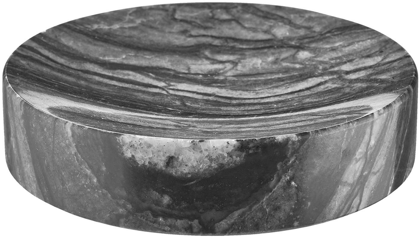 Marmeren zeepbakje Teren, Marmer, Zwart, Ø 11 x H 3 cm
