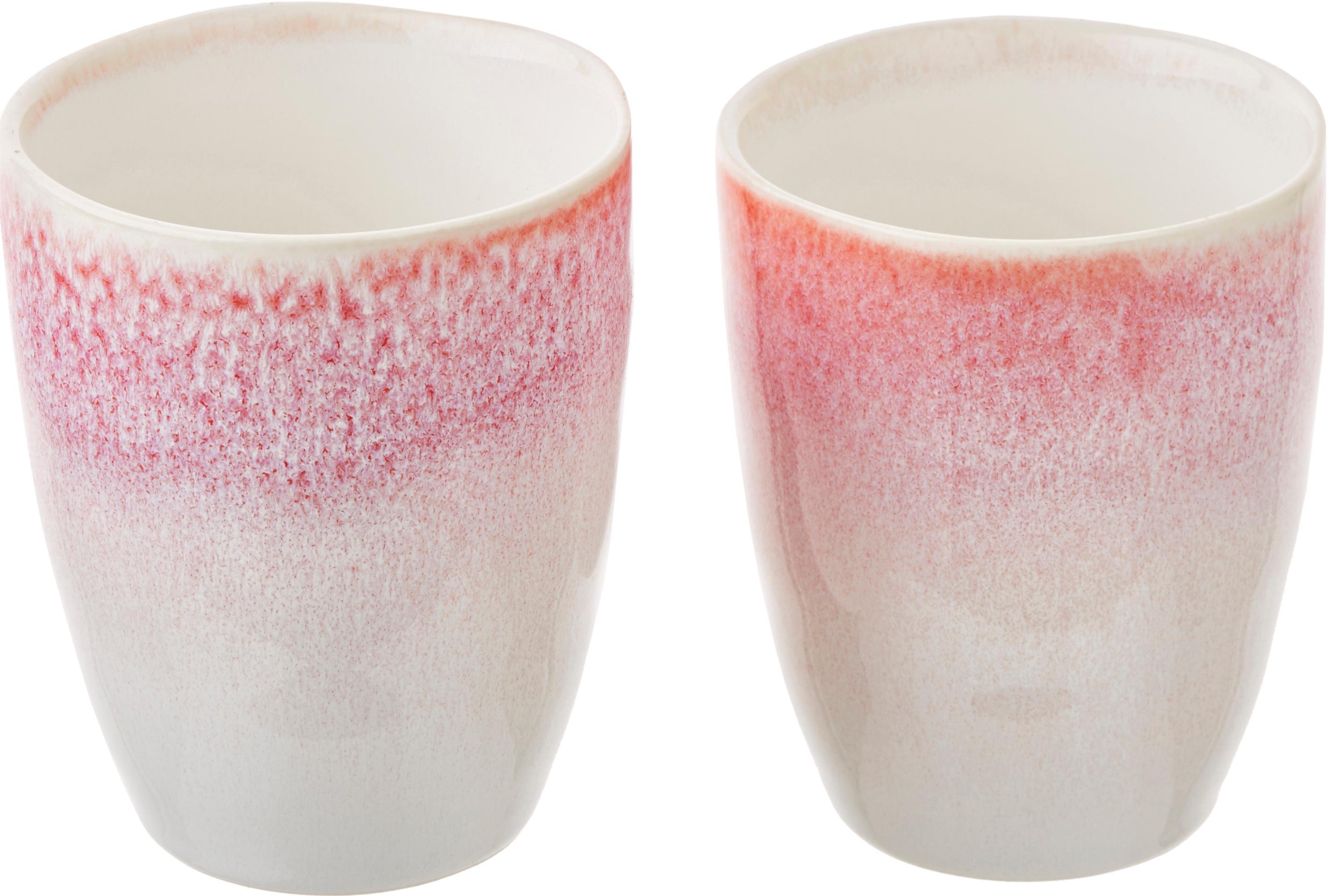 Ręcznie wykonany kubek Amalia, 2 szt., Ceramika, Jasny różowy, kremowobiały, Ø 10 x W 11 cm