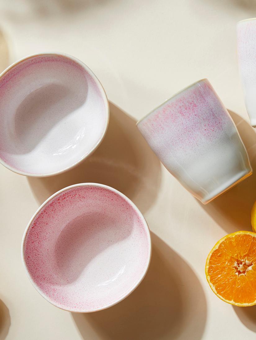 Handgemaakte beker Amalia, 2 stuks, Keramiek, Lichtroze, crèmewit, Ø 10 x H 11 cm